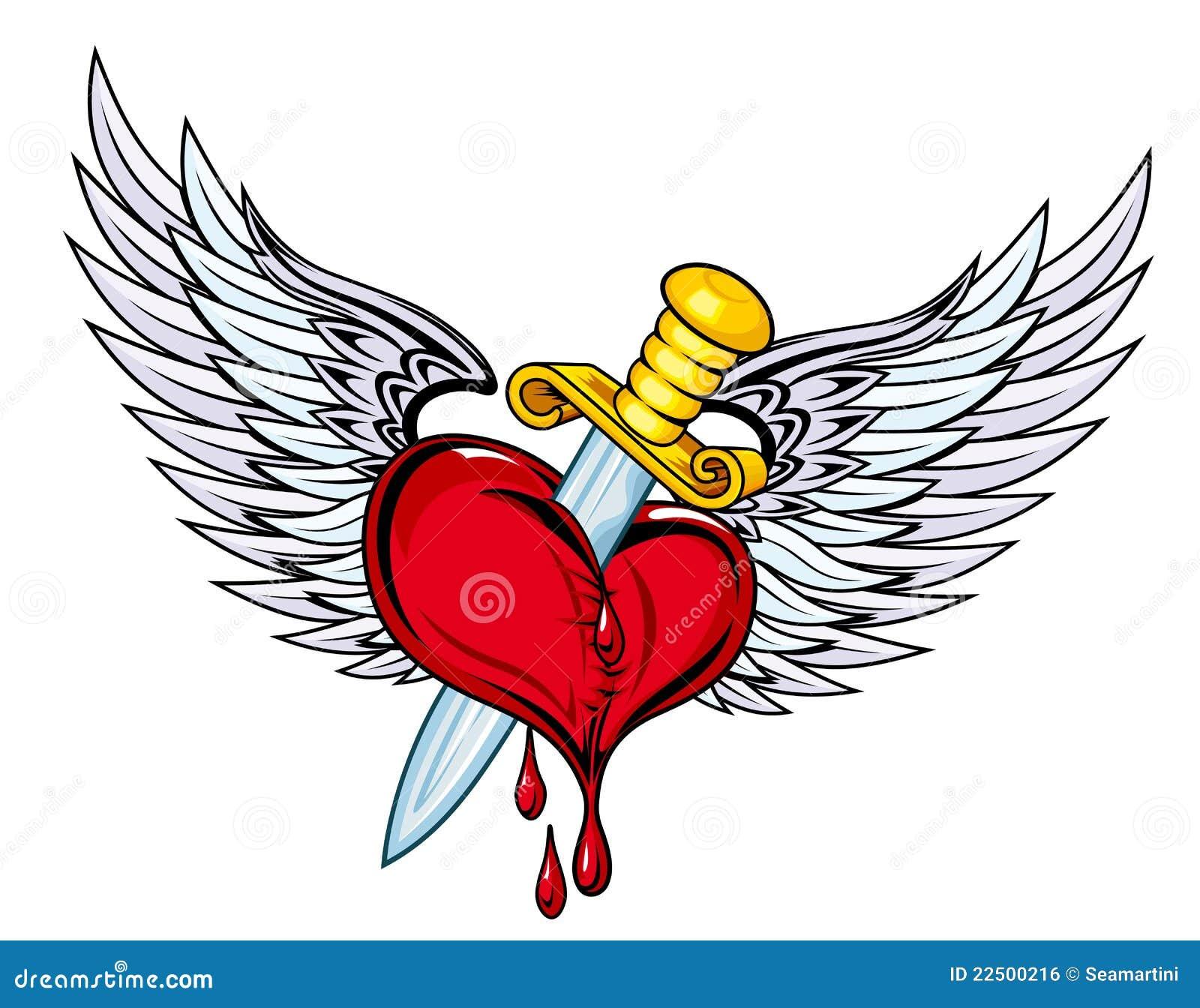 Corazón Con La Espada Y Las Alas Ilustración Del Vector