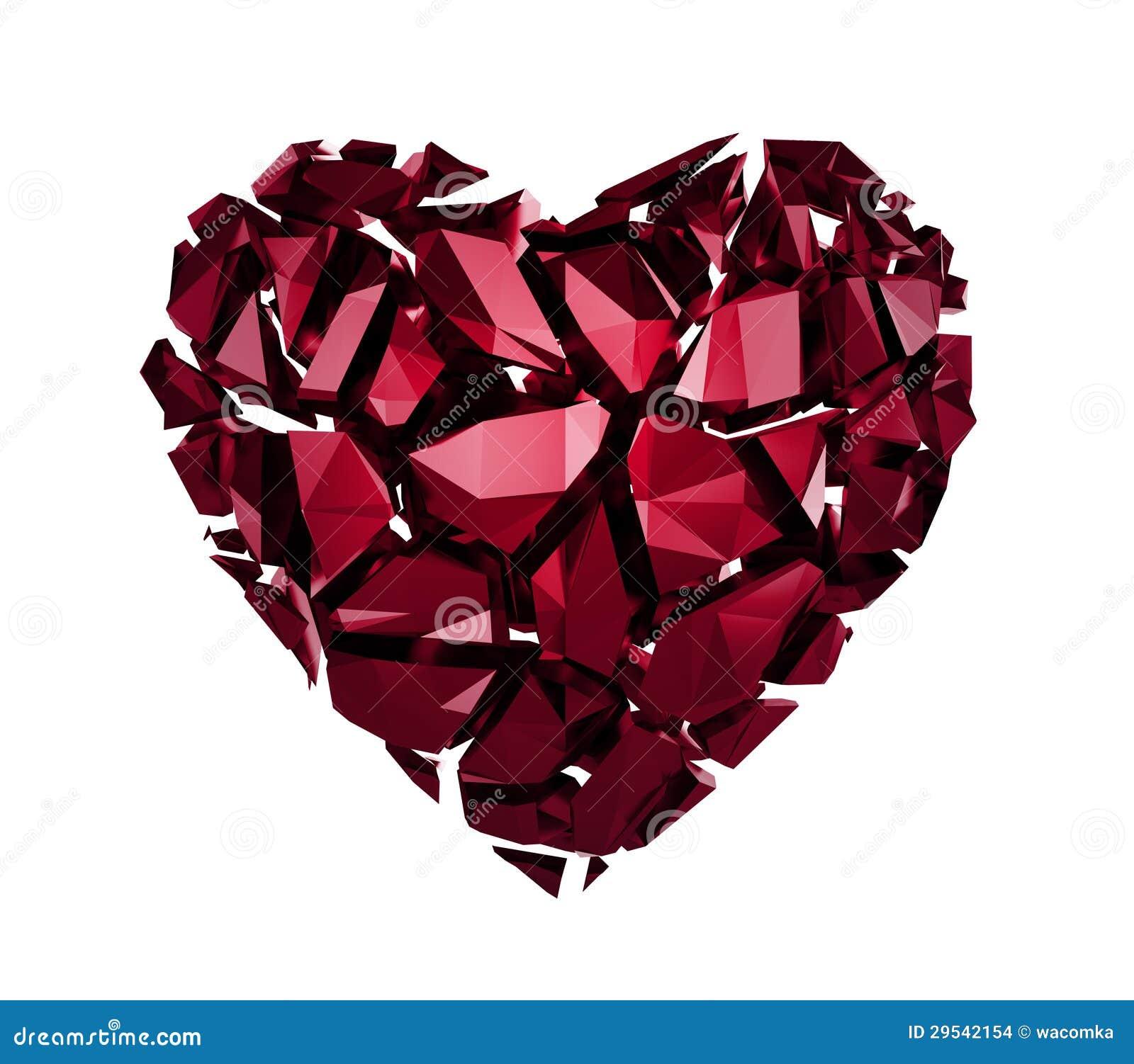 Corazón cristalino roto 3d