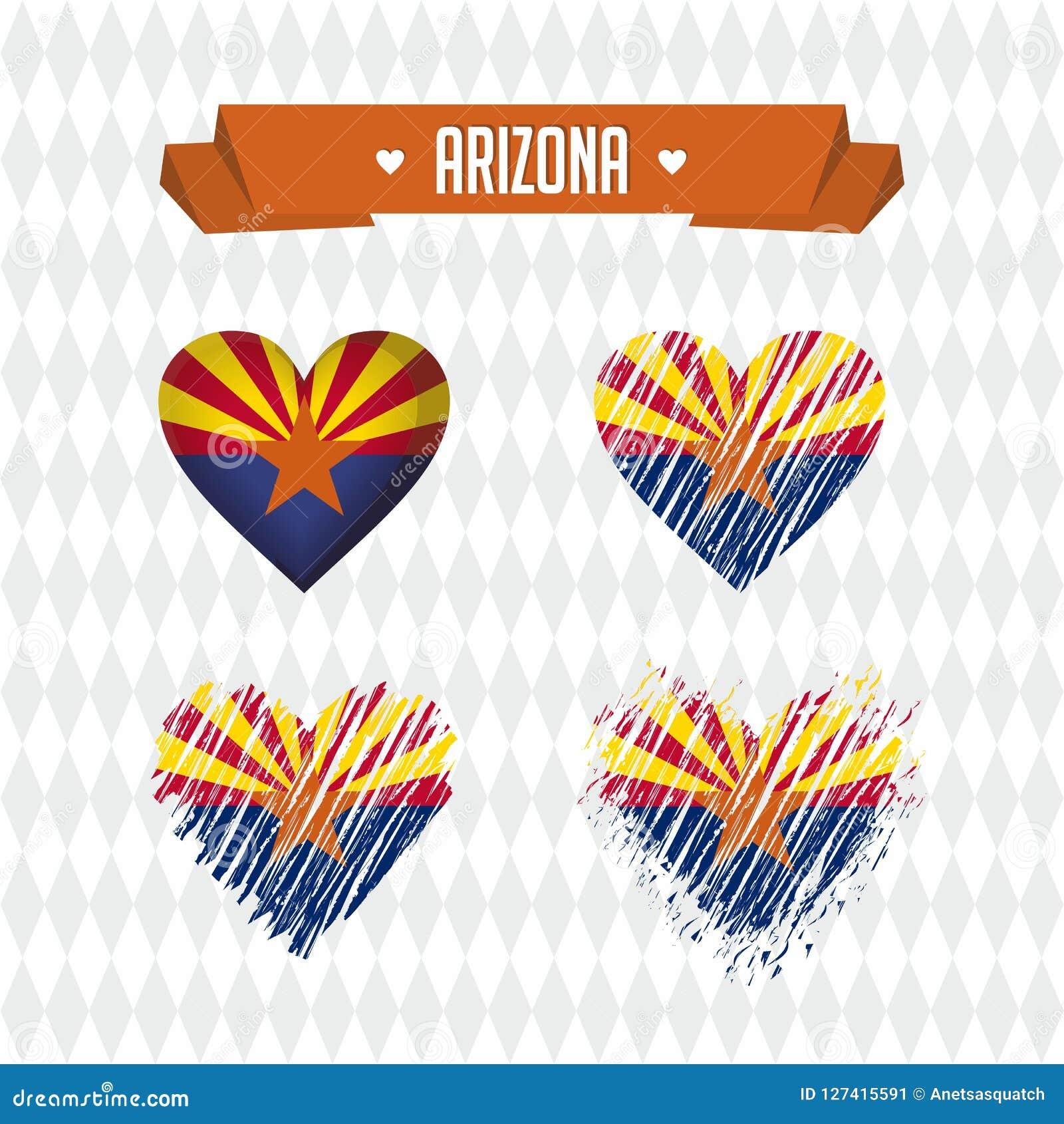 Corazón de Arizona con la bandera dentro Símbolos gráficos de vector del Grunge