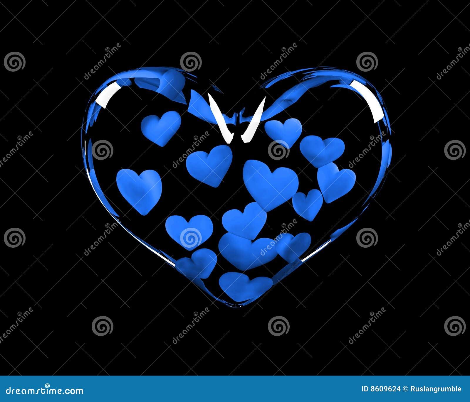 Corazón de cristal con 14 corazones azules adentro