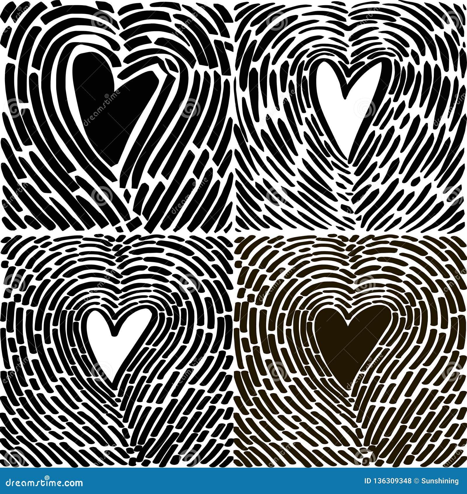Corazón De Dibujo De La Mano Bajo La Forma De Huella Dactilar