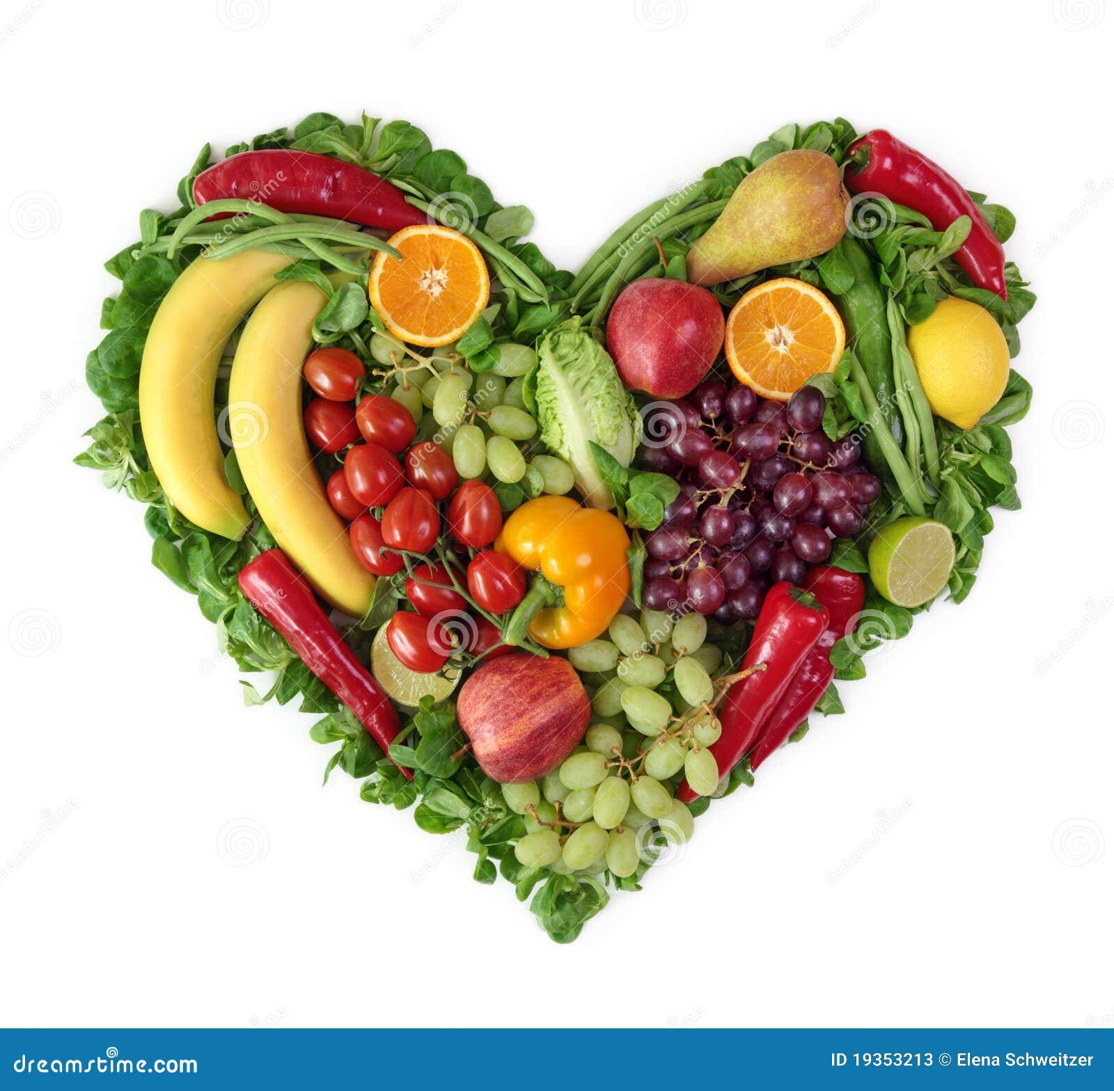 corazn de frutas y verdura fotos de archivo