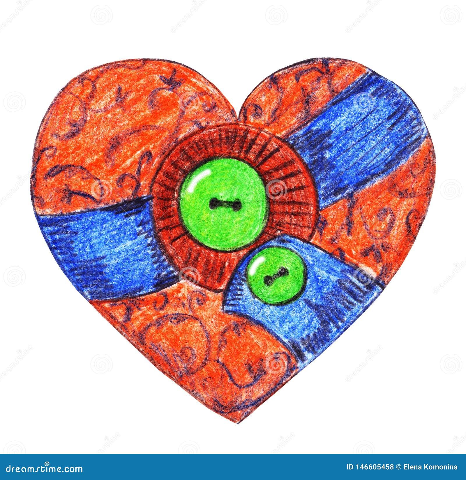 Corazón de la materia textil del vintage con los botones verdes