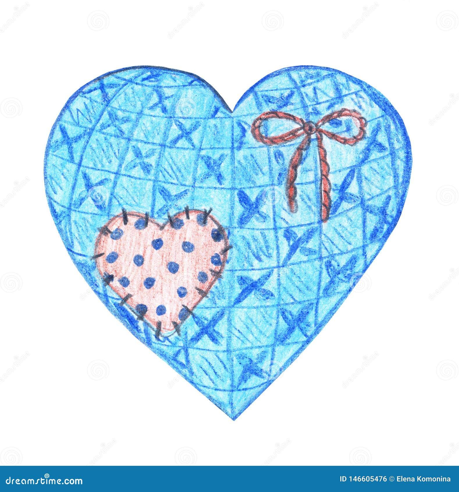 Corazón de la materia textil del vintage con un remiendo lindo y un arco de la cuerda
