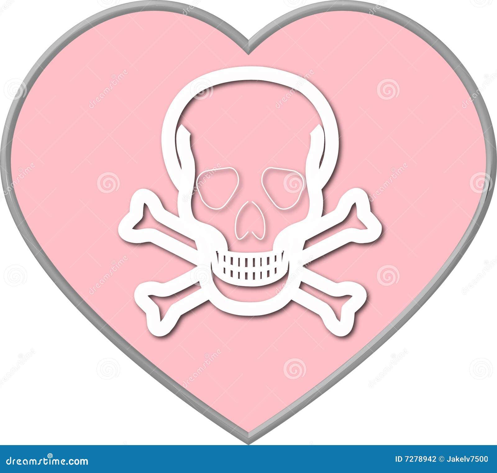 Corazón de la tarjeta del día de San Valentín con el cráneo y Crossbones