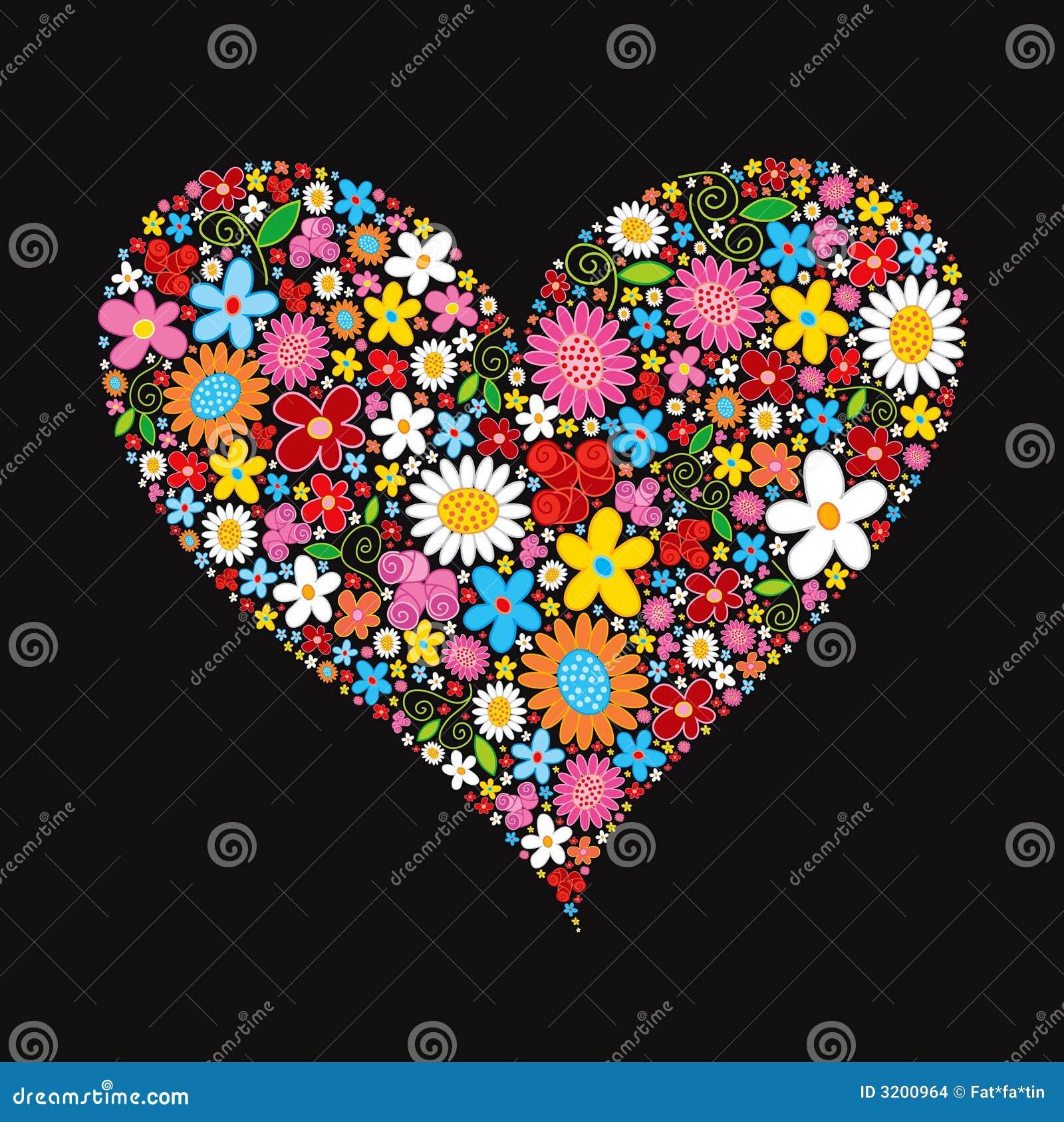 Corazón de la tarjeta del día de San Valentín de la flor del resorte