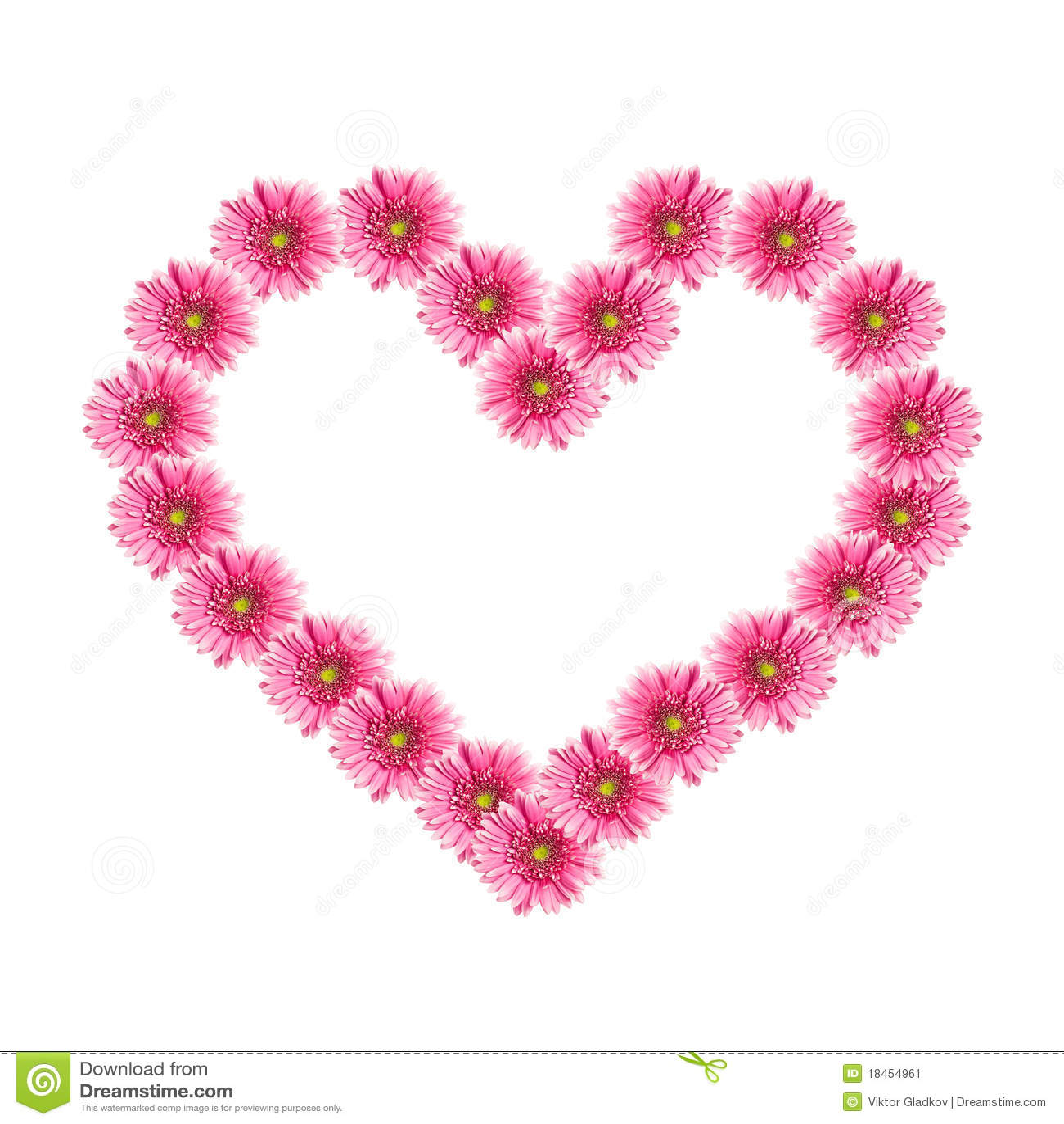 Corazón de las flores rosadas del gerbera