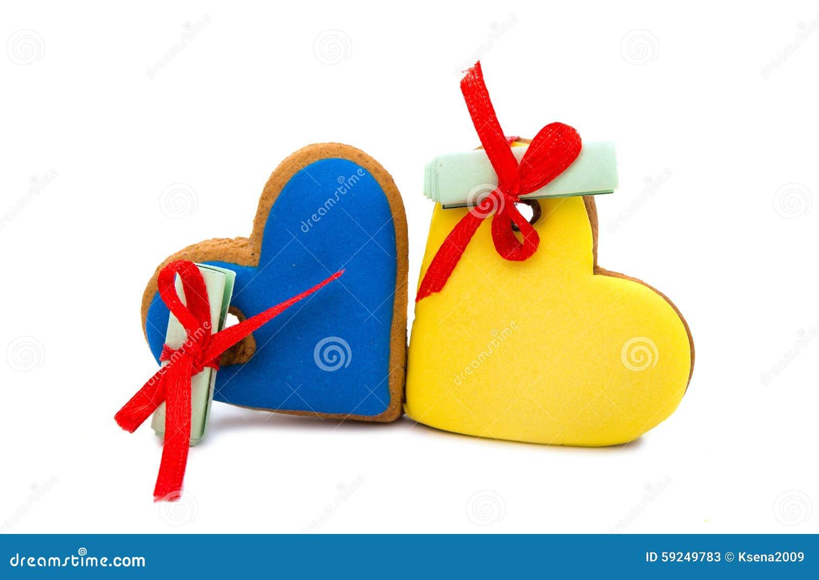 Corazón de las galletas con deseos