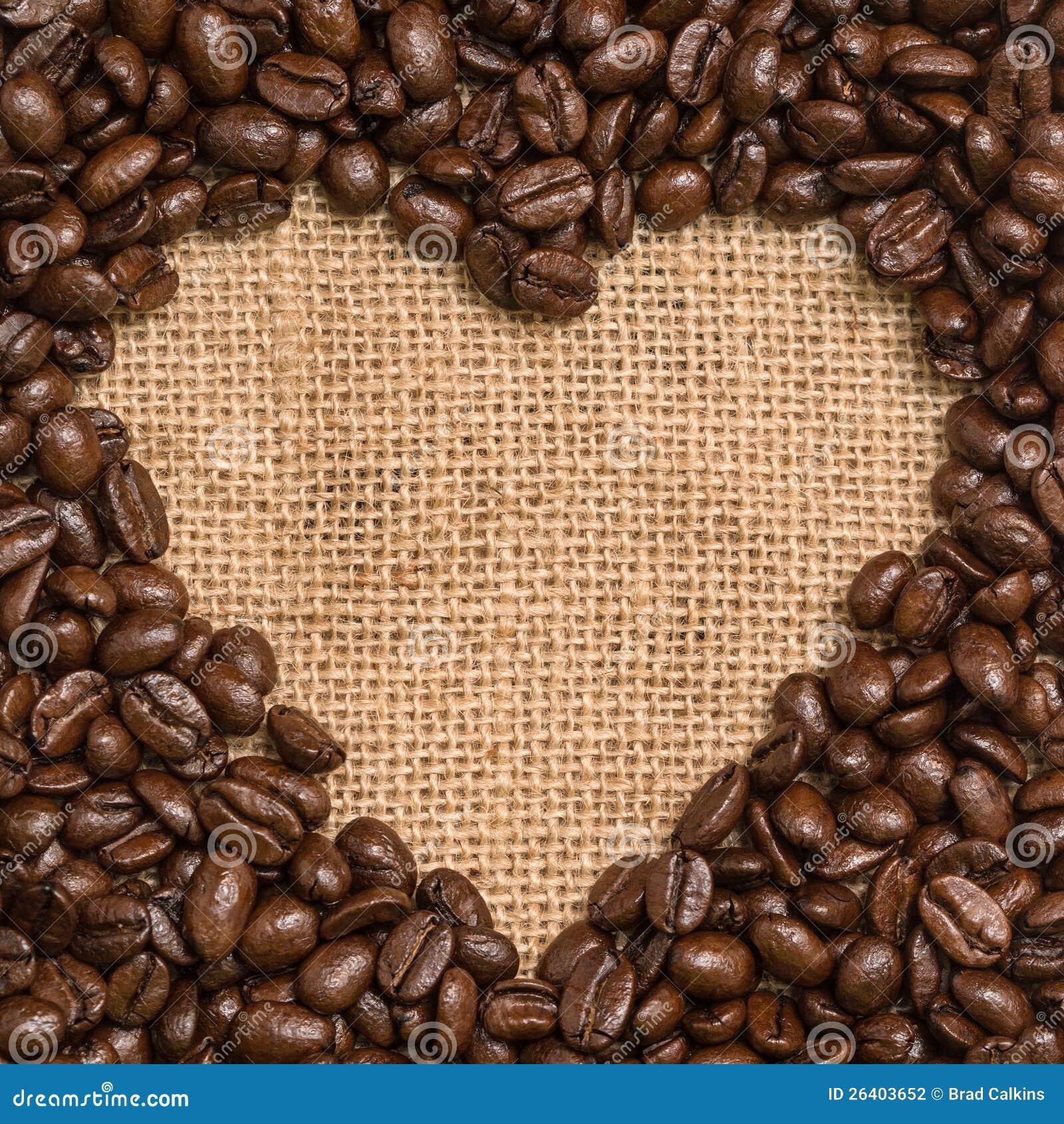 Corazón de los granos de café
