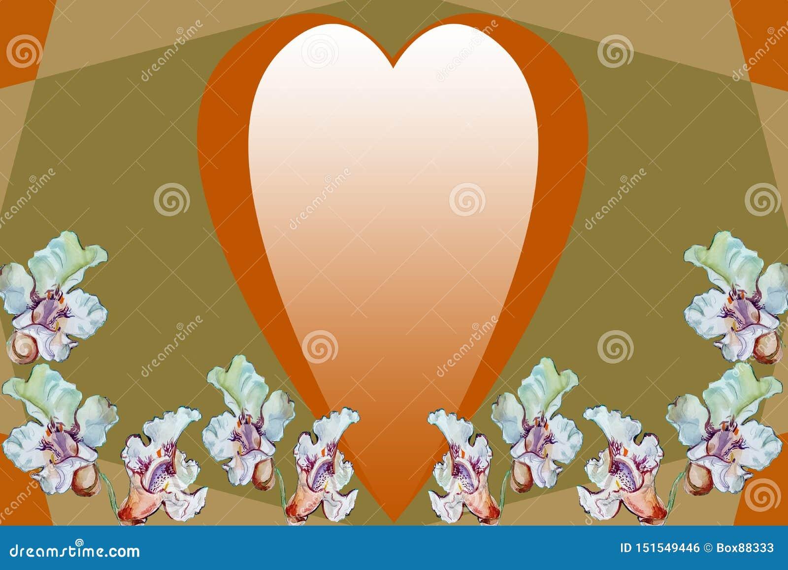 Corazón de oro y flores blancas en un fondo geométrico abstracto