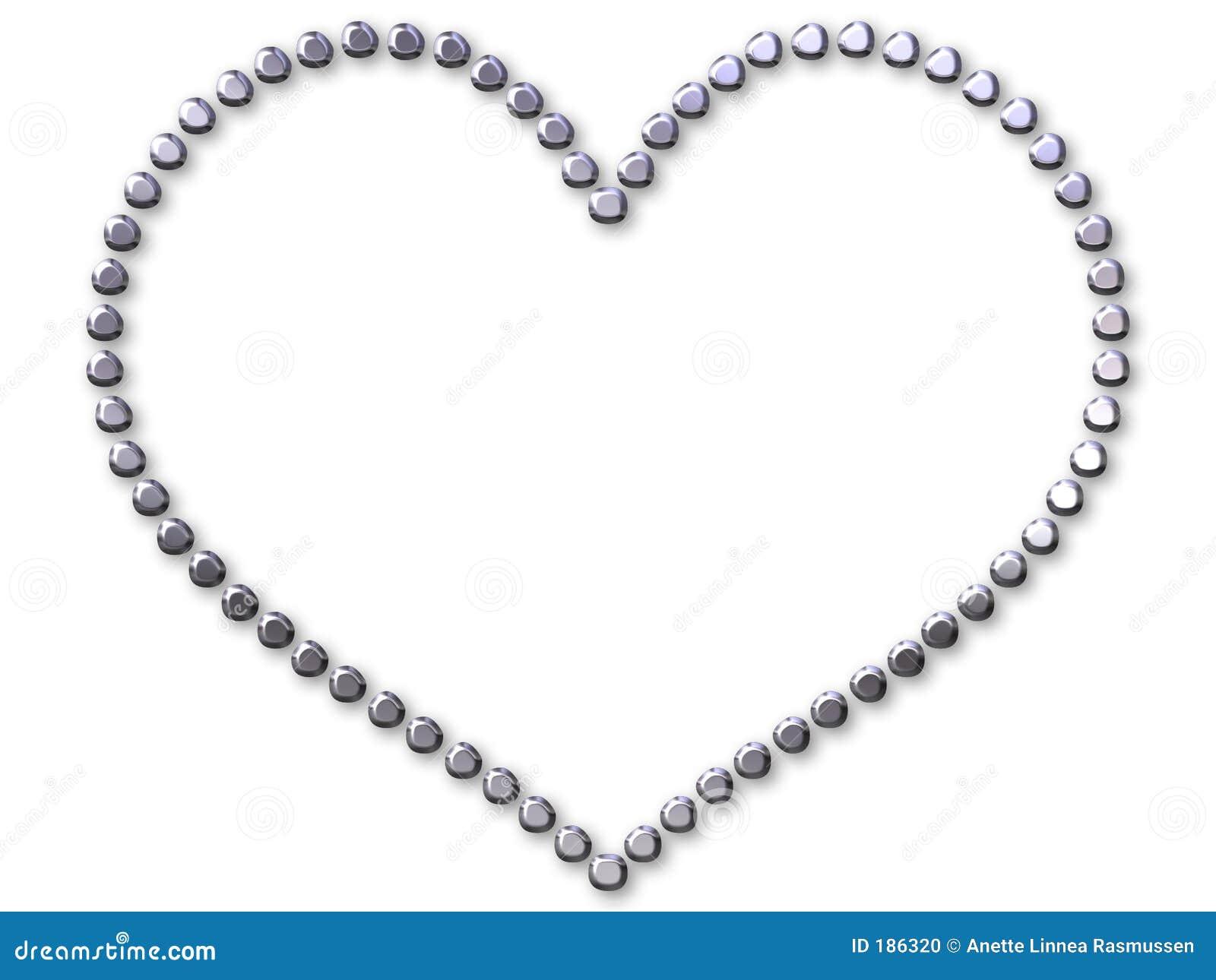 Corazón de plata hecho con los puntos