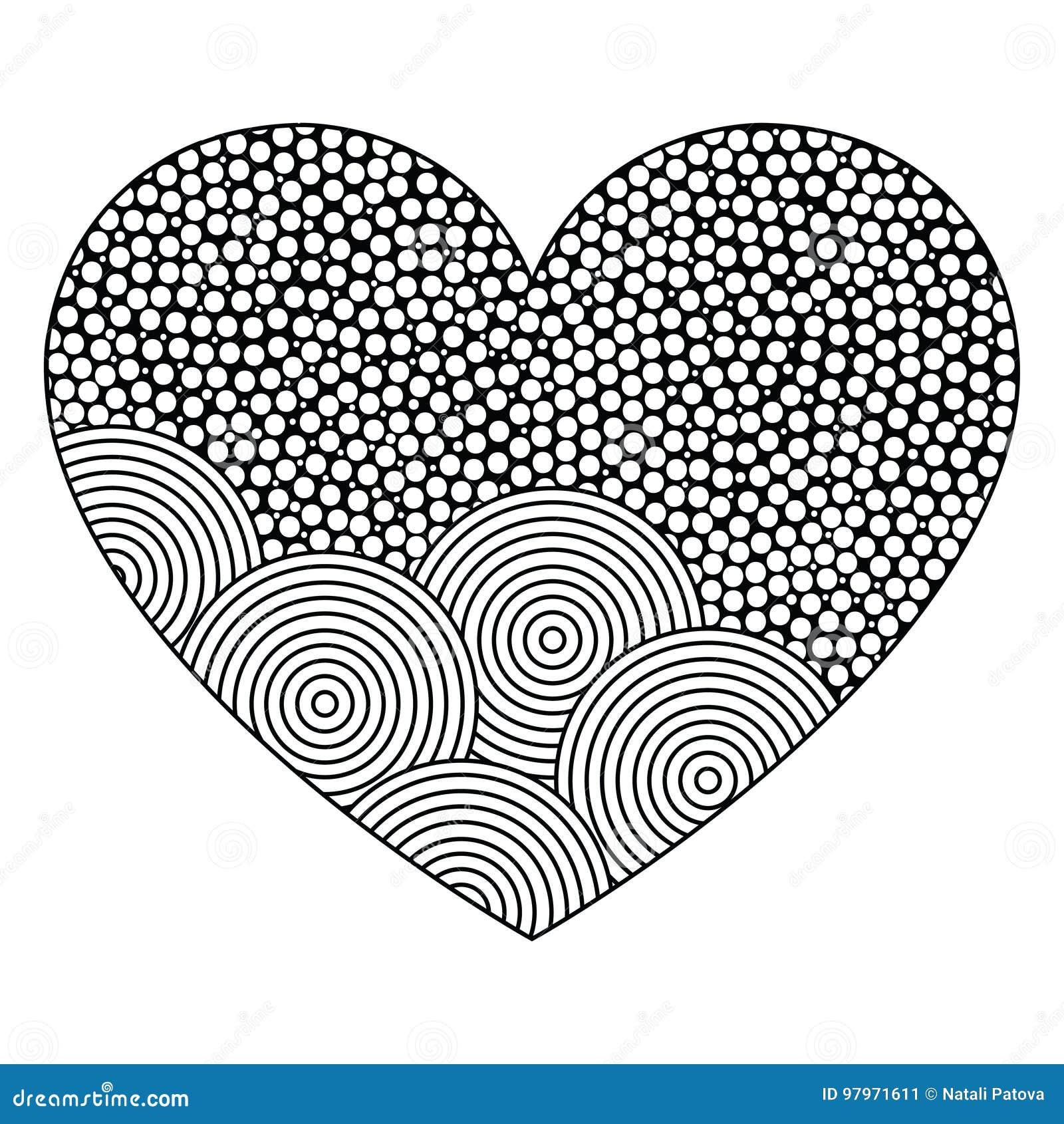 Corazón Decorativo Con El Ornamento De Círculos Página Para El Libro ...