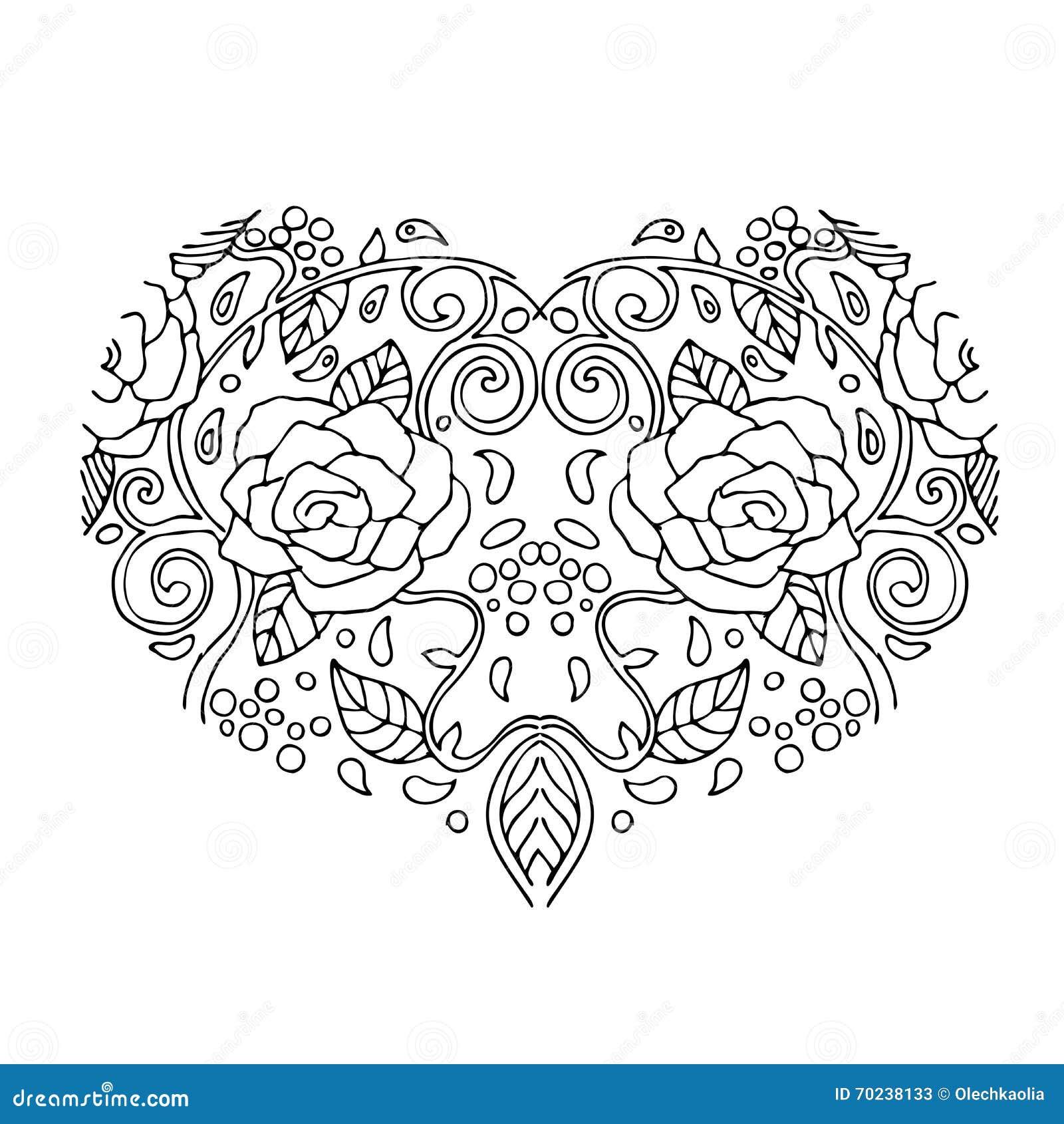 Corazón Decorativo Del Amor Con Las Flores Tarjeta Del Día De ...