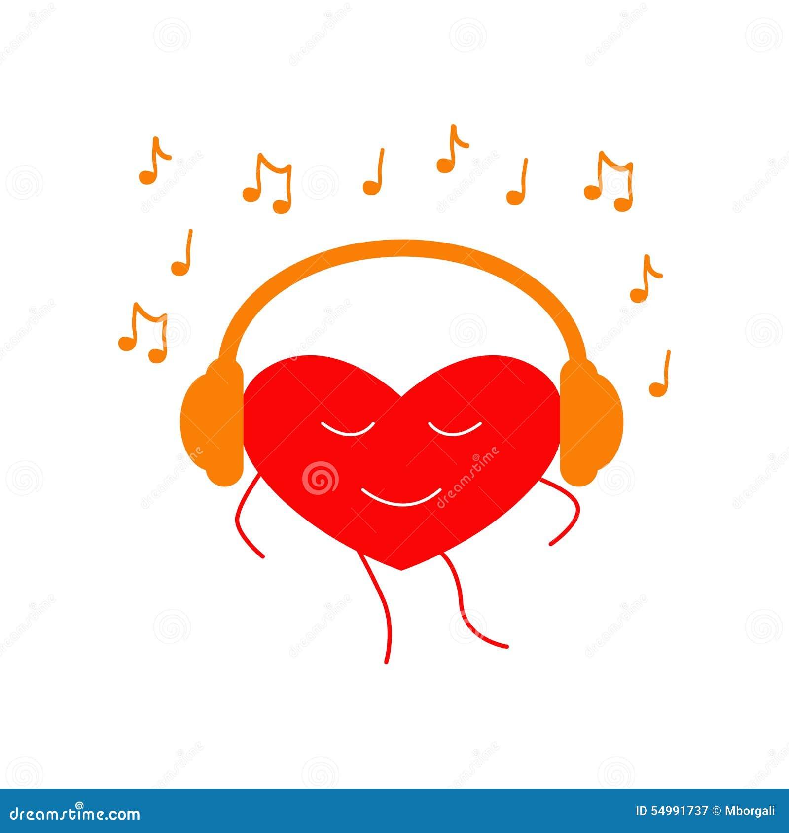 Corazón del baile en auriculares