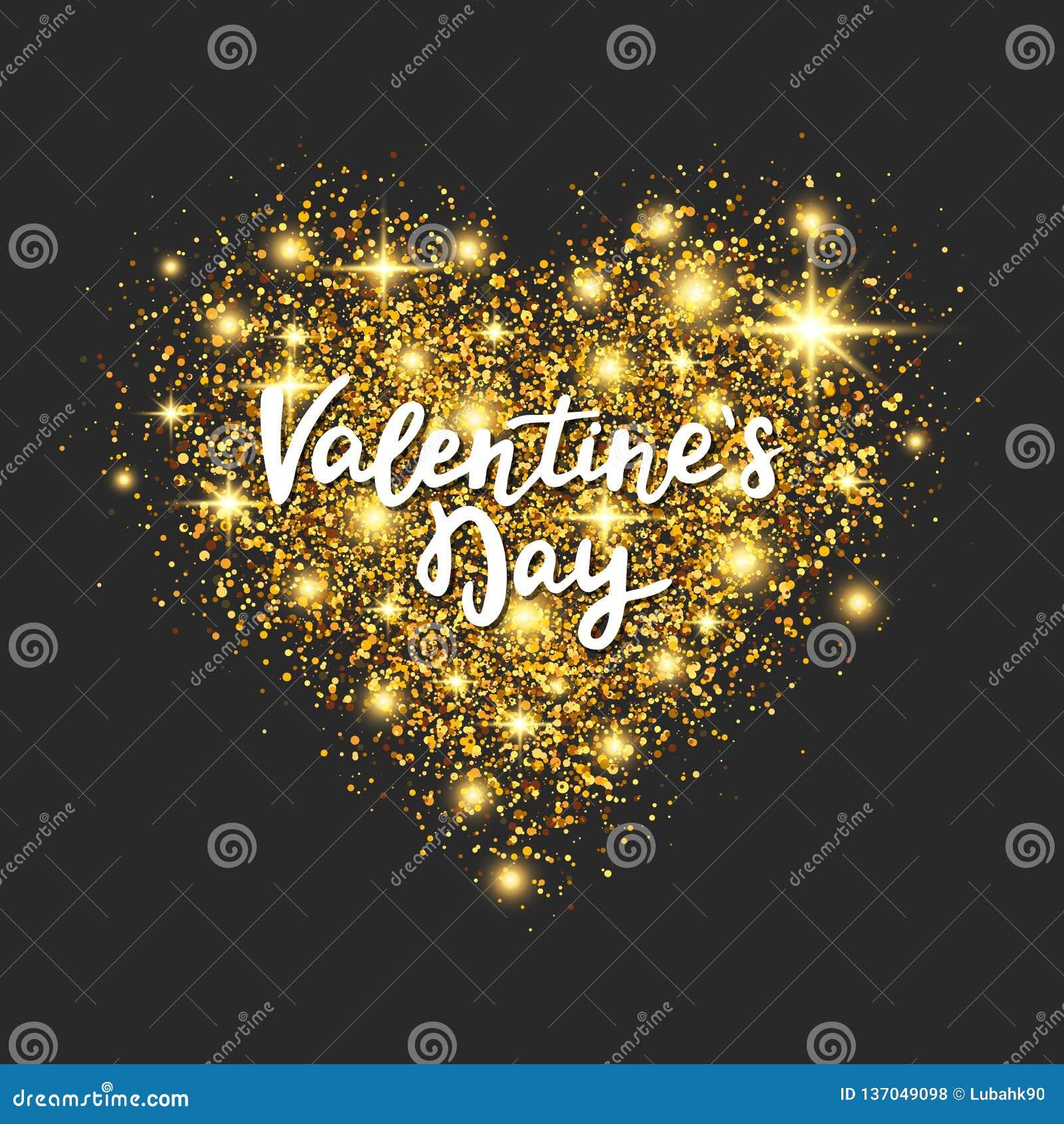 Corazón del brillo del oro en fondo oscuro Letras de la mano del día de tarjetas del día de San Valentín Polvo de estrella de oro