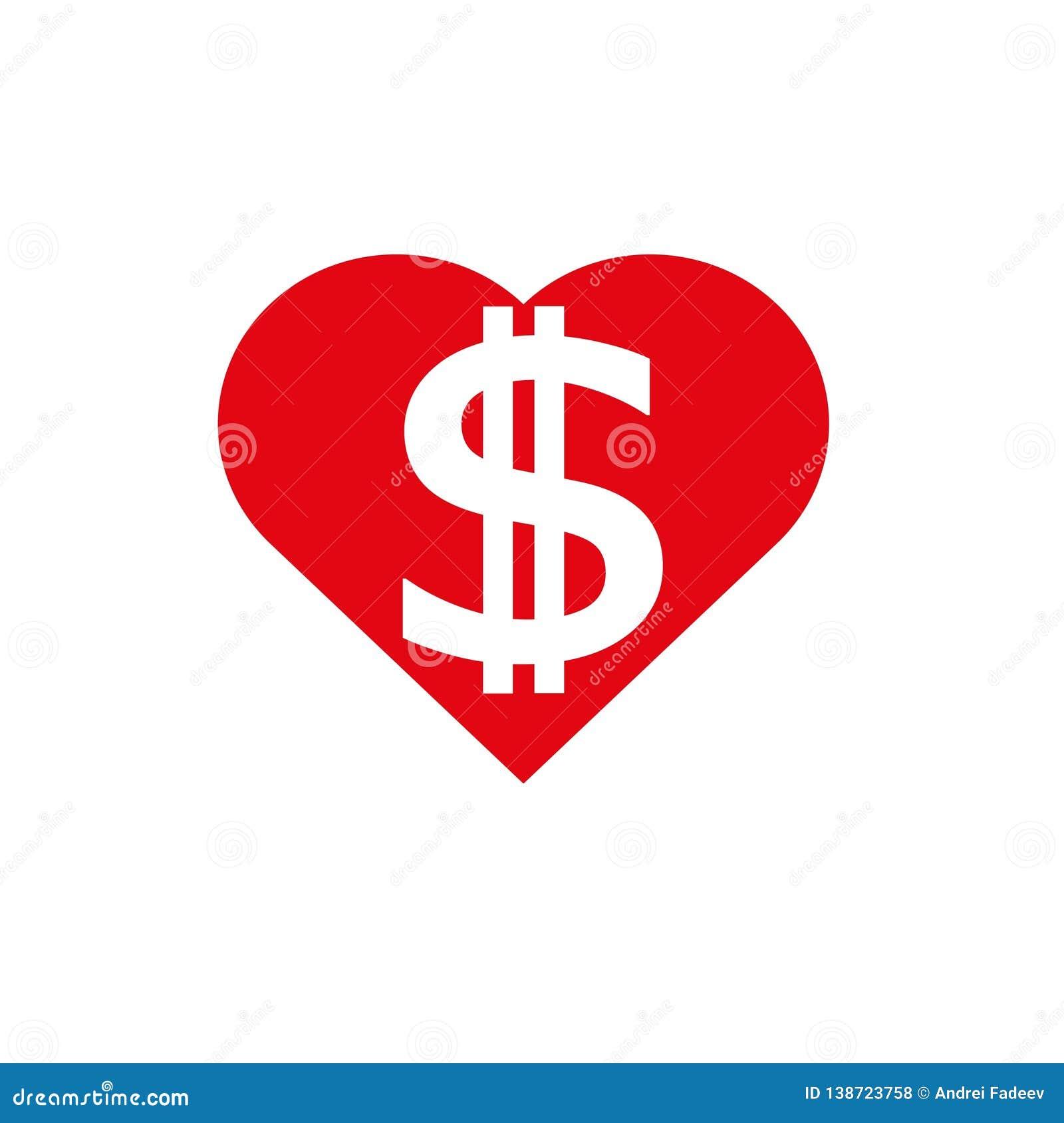 Corazón del dólar en rojo