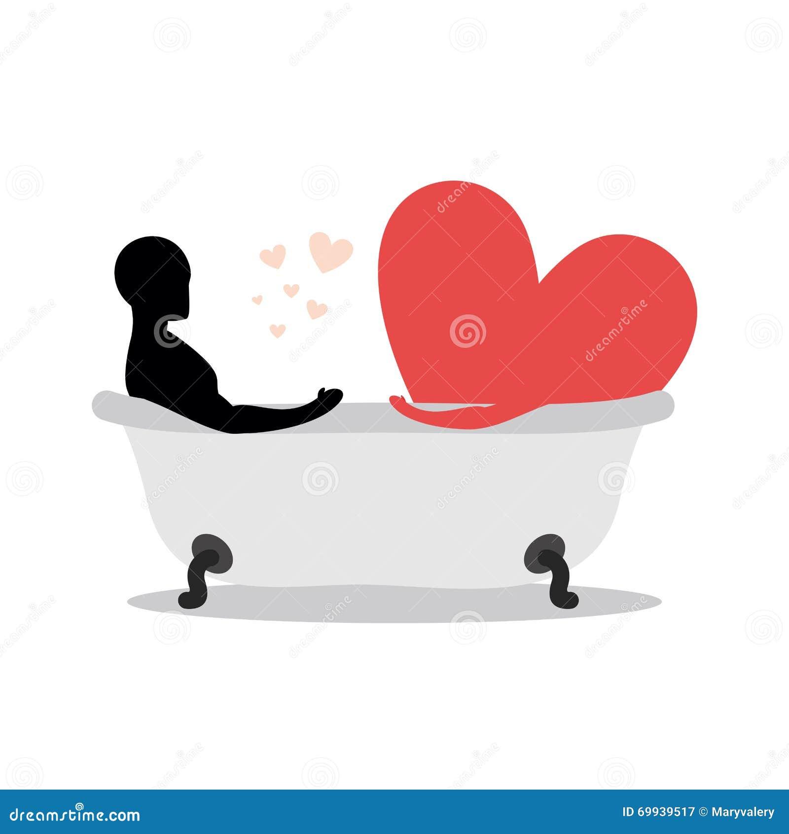 Corazón Del Hombre En Baño El Hombre Y El Símbolo Del Amor Está ...