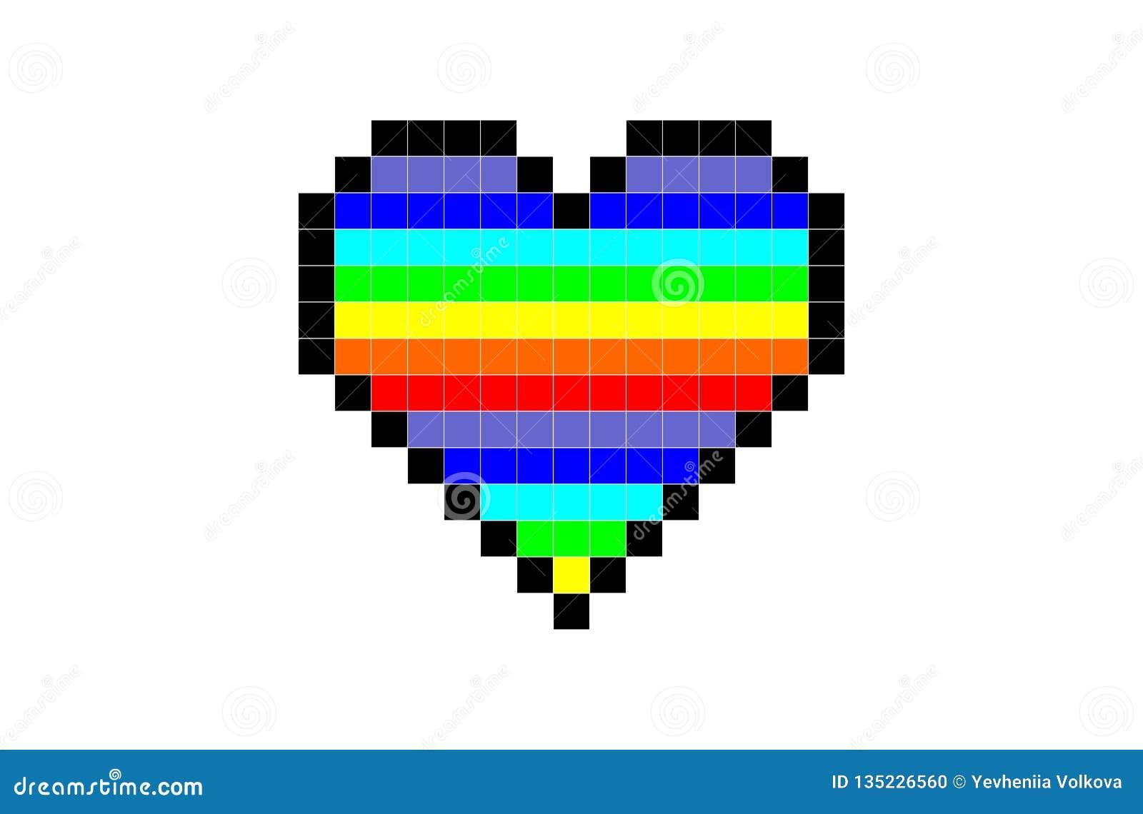 Corazón del pixel del color del arco iris