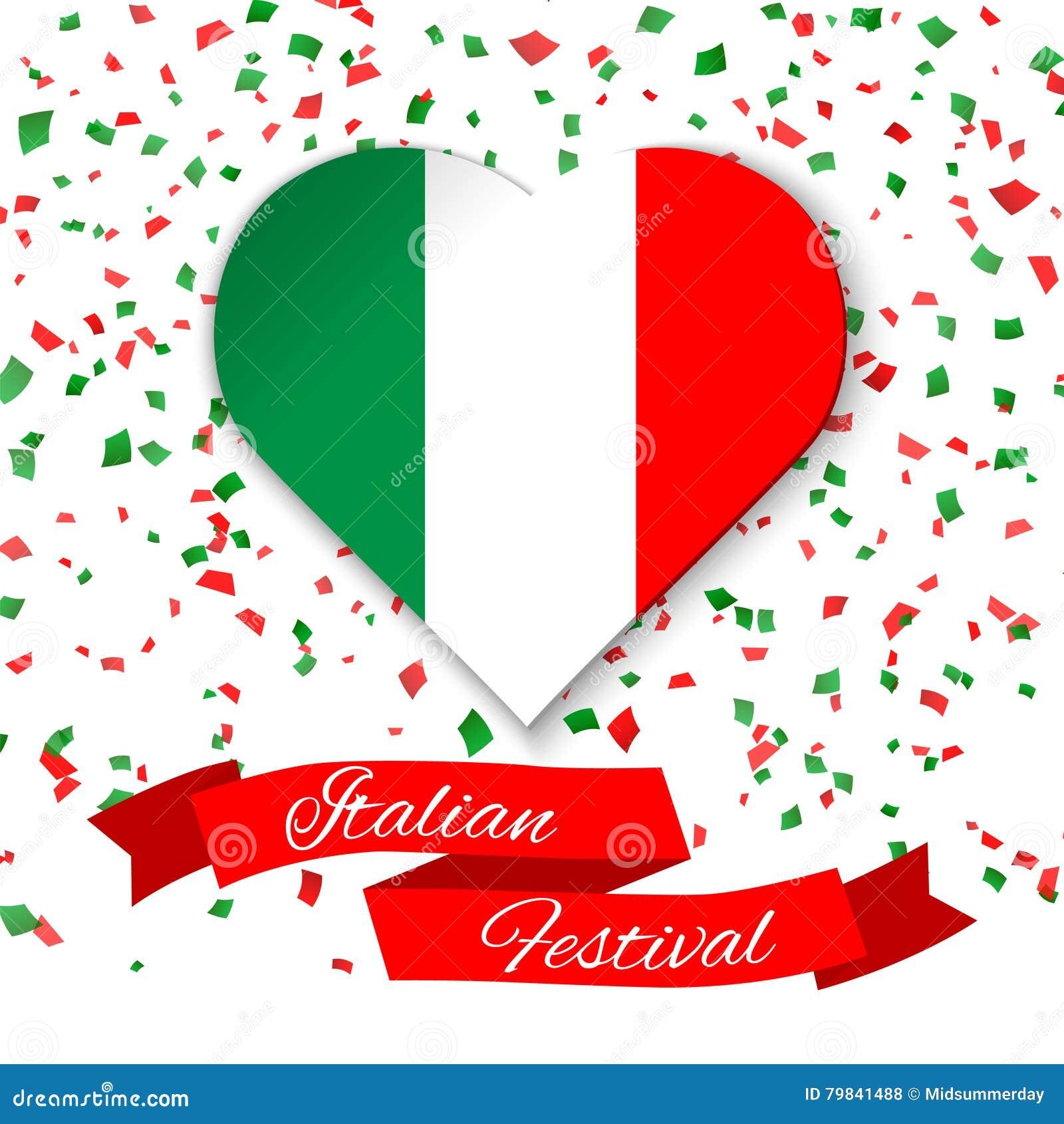 Corazón En Colores De La Bandera Italiana Con Confeti La Tarjeta De ...