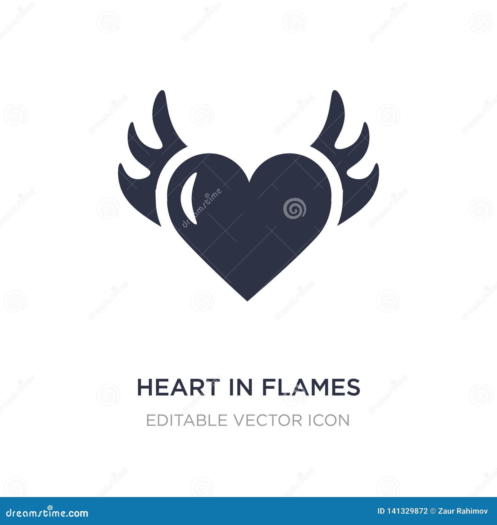 Corazón en icono de las llamas en el fondo blanco Ejemplo simple del elemento del concepto general