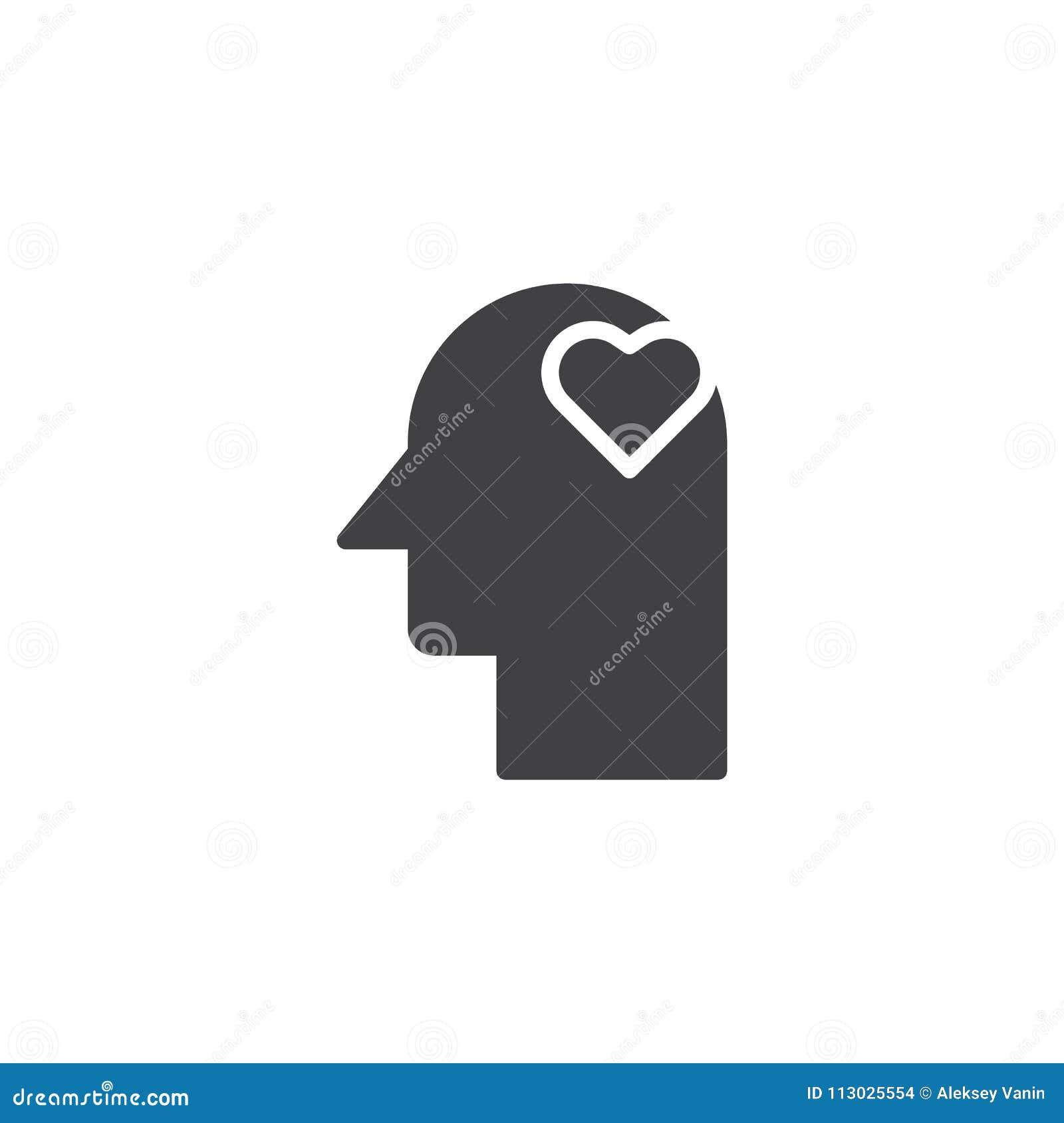 Corazón en icono del vector de la cabeza humana