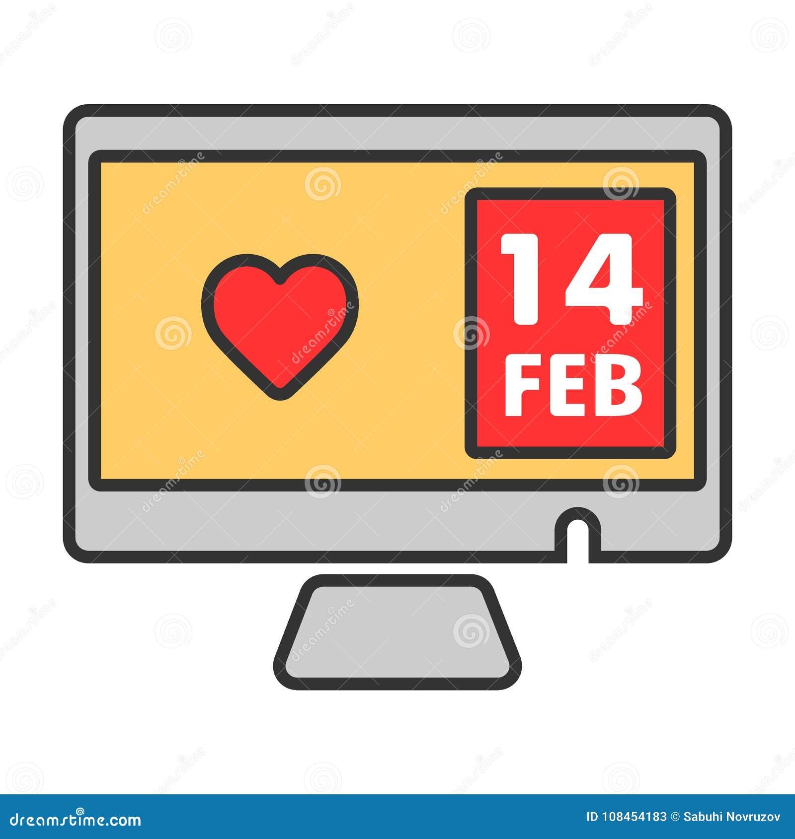 Corazón en icono del vector de la pantalla de la PC 14 de febrero o día de San Valentín Ejemplo de color en el fondo blanco