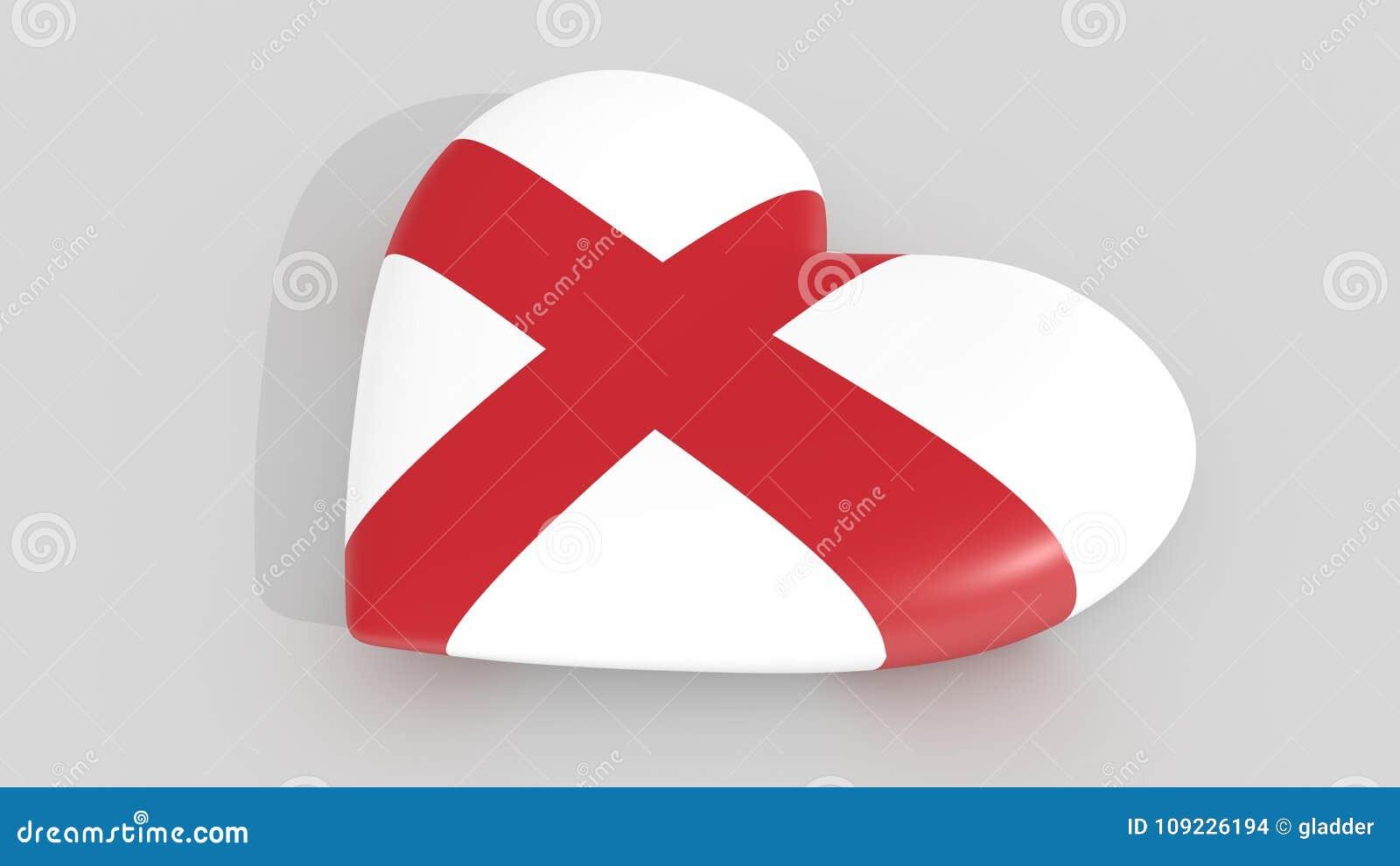 Corazón En Los Colores De La Bandera De Inglaterra, En Un Fondo ...