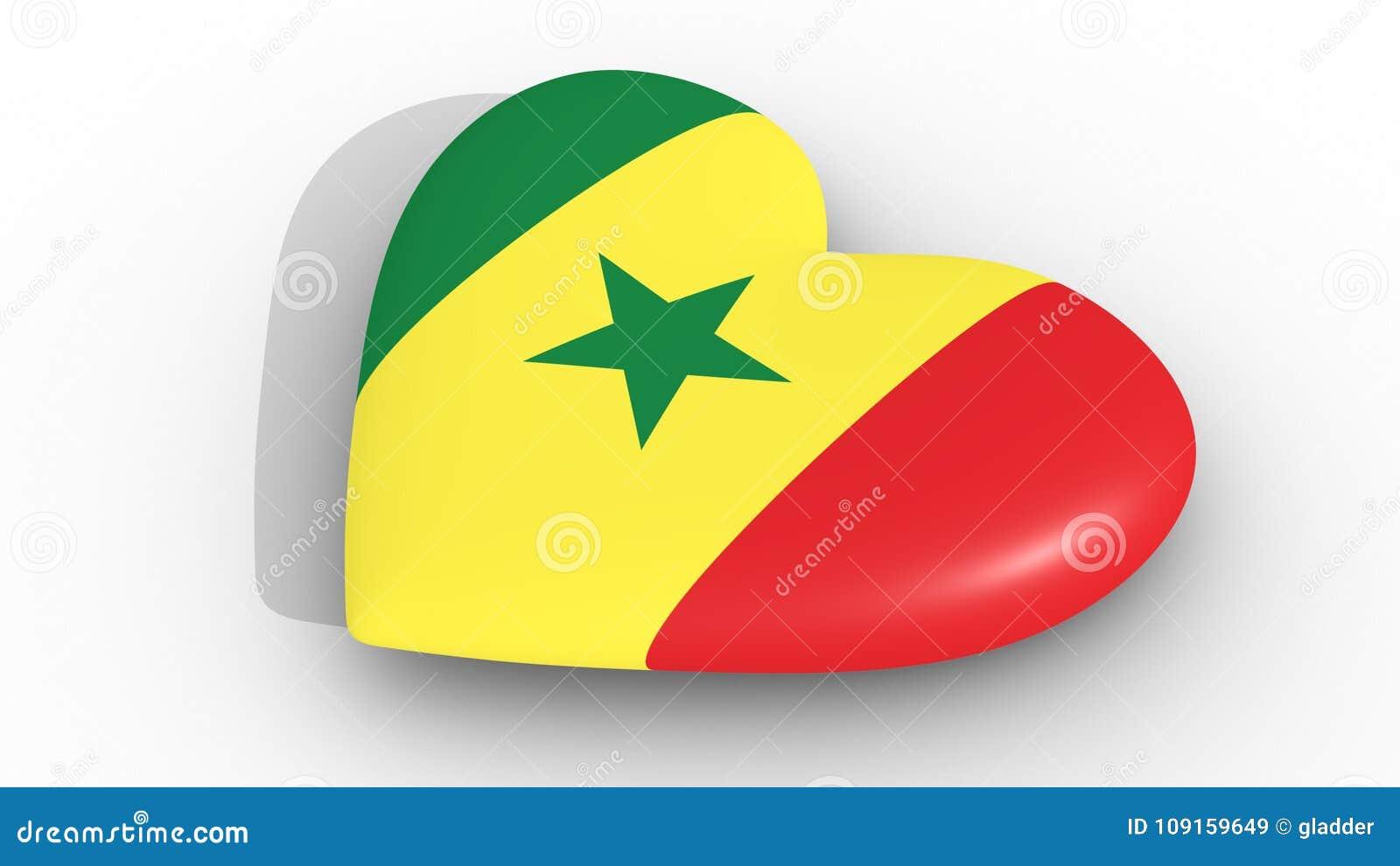 Corazón En Los Colores De La Bandera De Senegal En Un Fondo