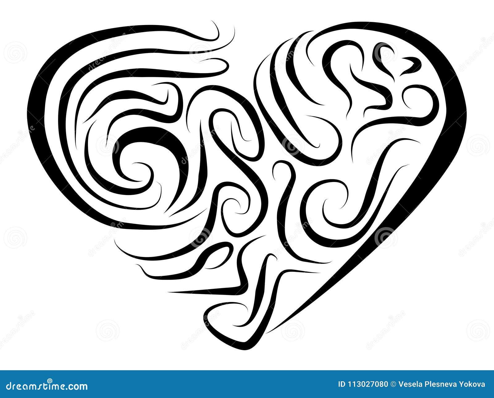 Corazón estilizado pintado con diversas líneas en un fondo blanco