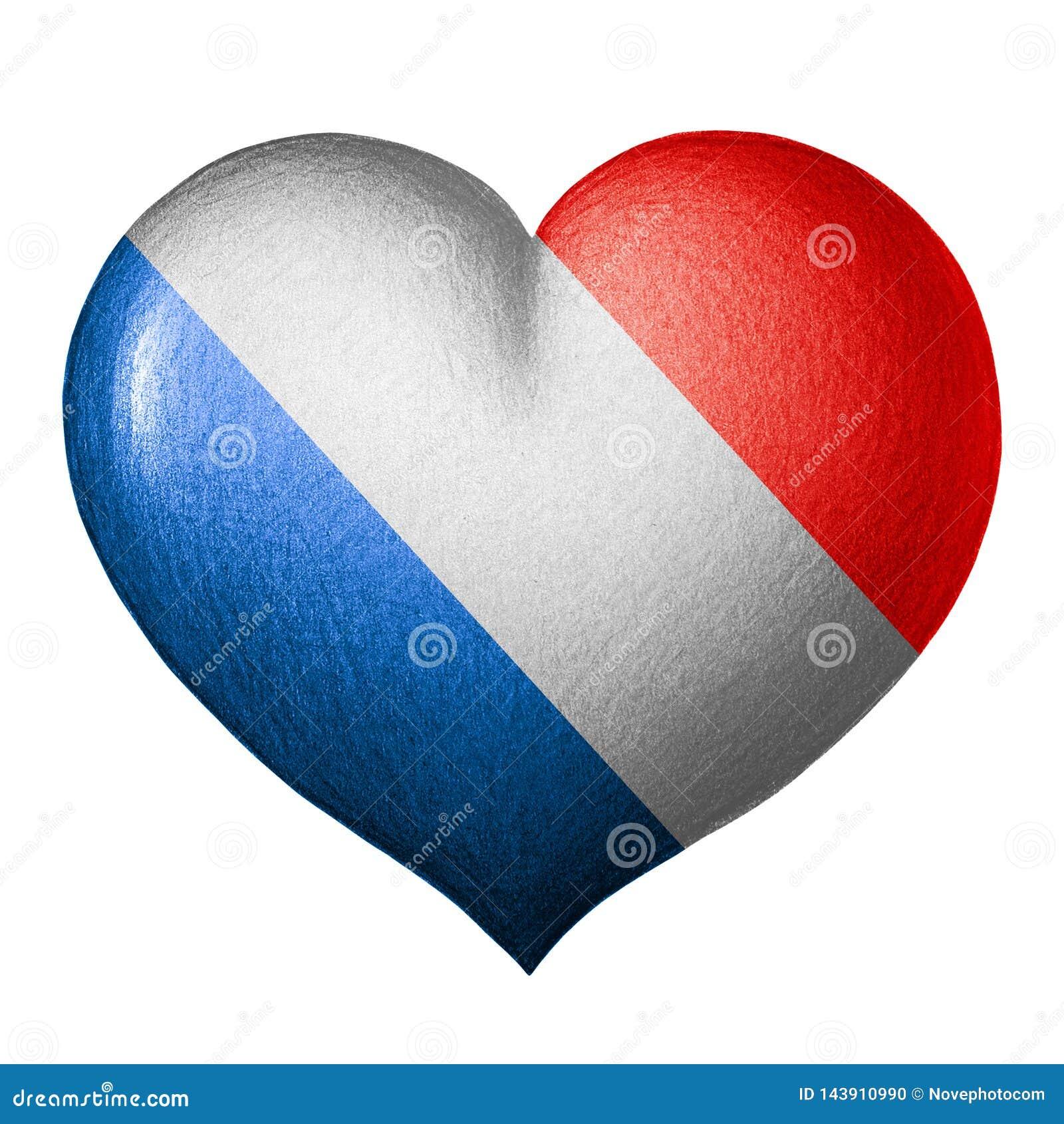 Corazón francés de la bandera Aislado en el fondo blanco