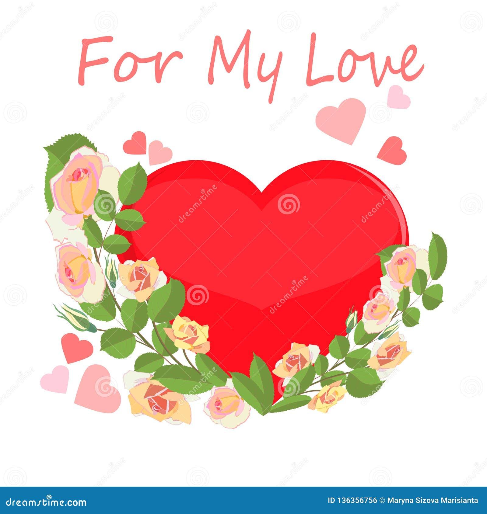 Corazón grande enmarcado por las rosas poner crema delicadas con las palabras para mi amor