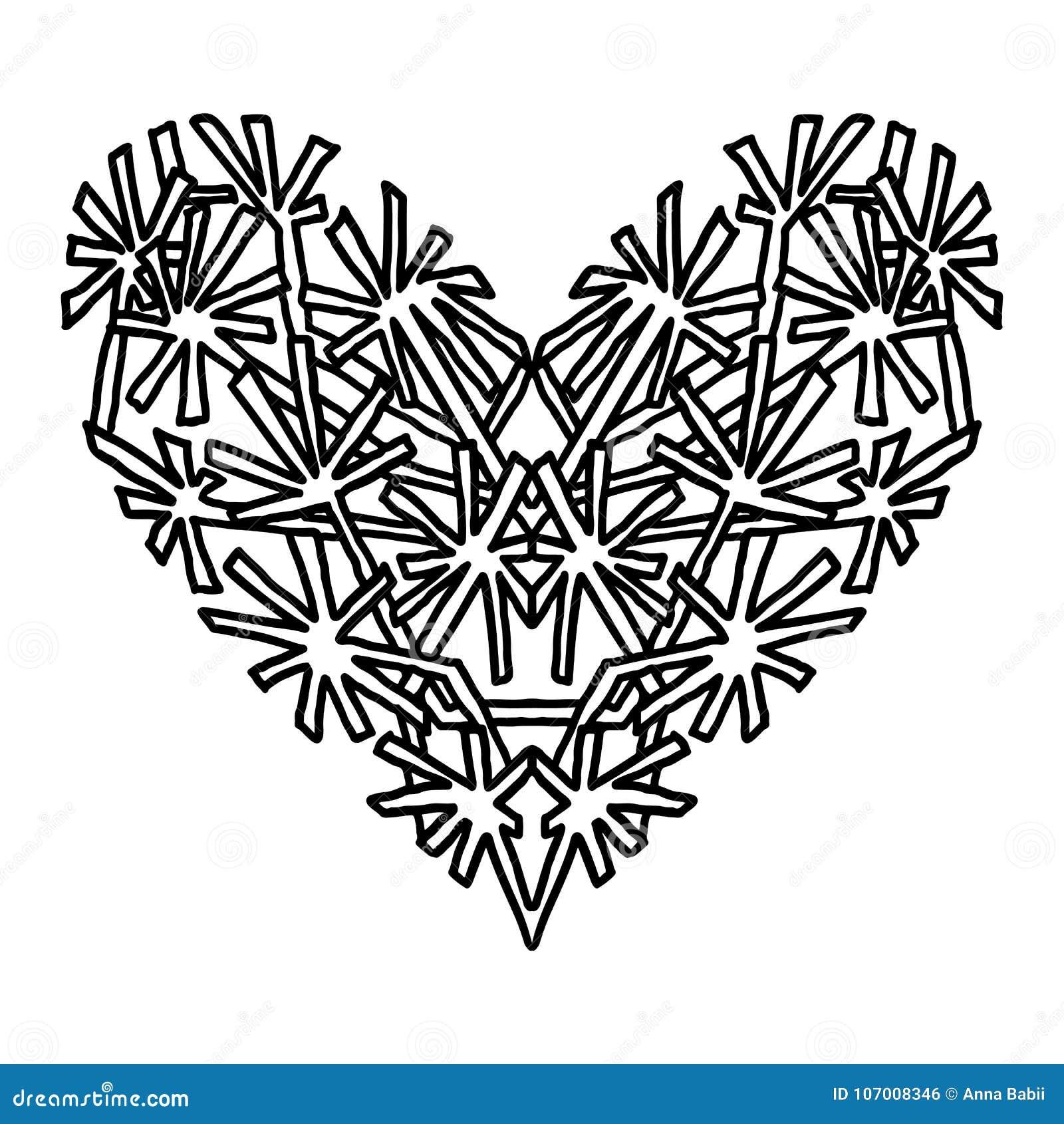 Corazón Handdrawn Del Zentangle Diseño Del Estilo De La Mandala Para ...