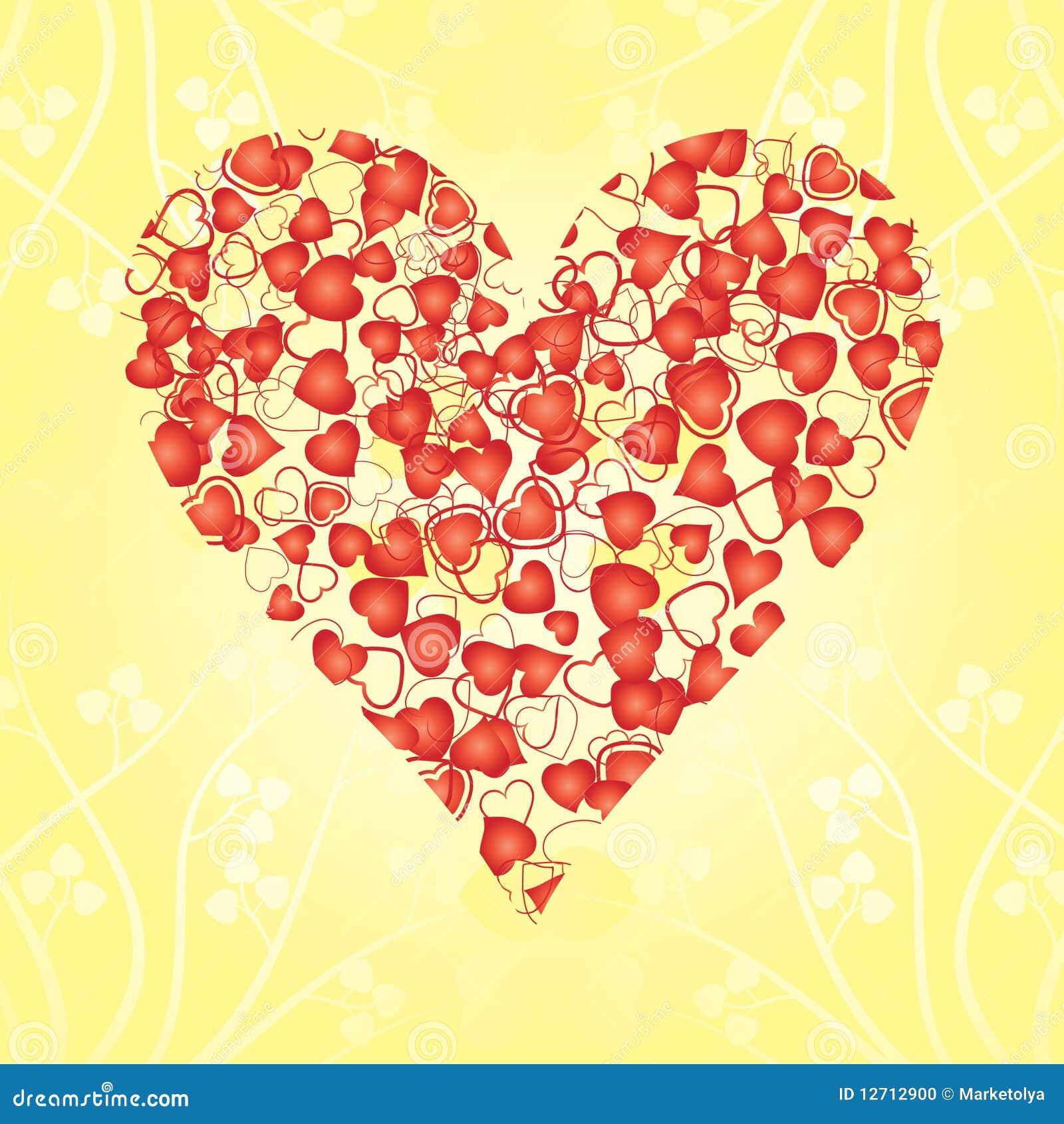 Corazón Hecho De Corazones Rojos Ilustración Del Vector