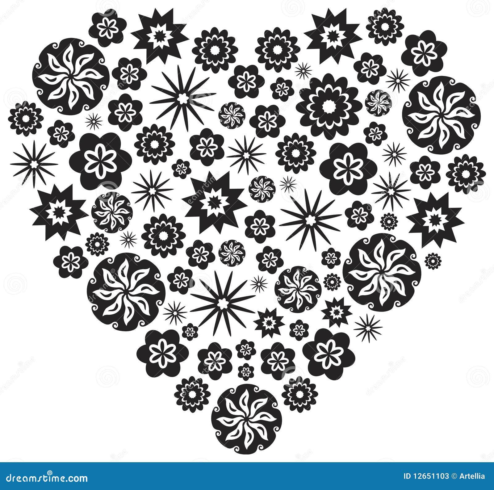 Corazón Hecho De Flores En Blanco Y Negro Ilustración Del Vector