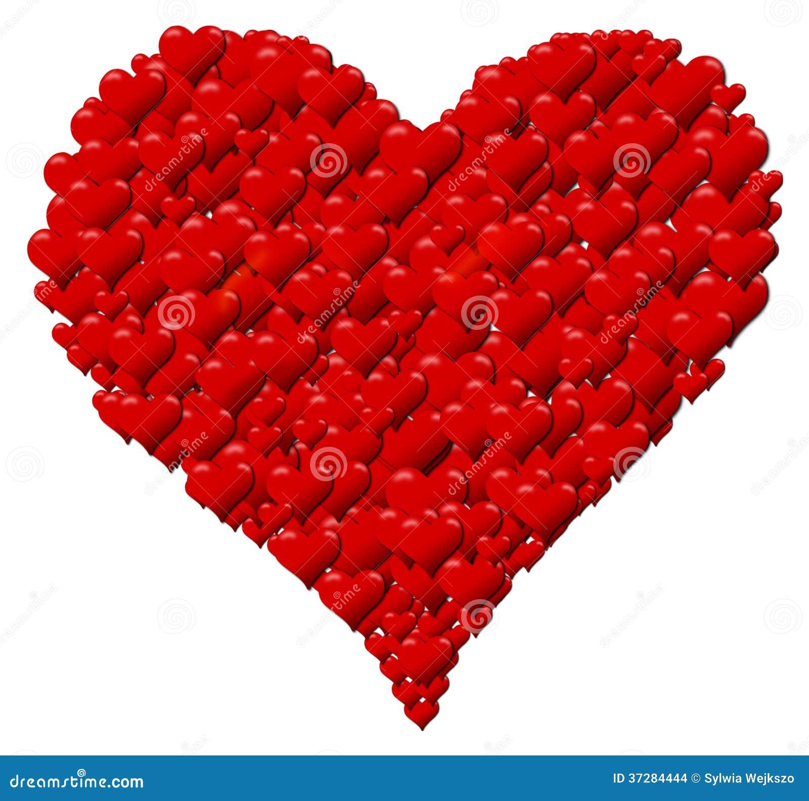 Corazón Hecho De Los Corazones Para Un Día De Tarjeta Del Día De San