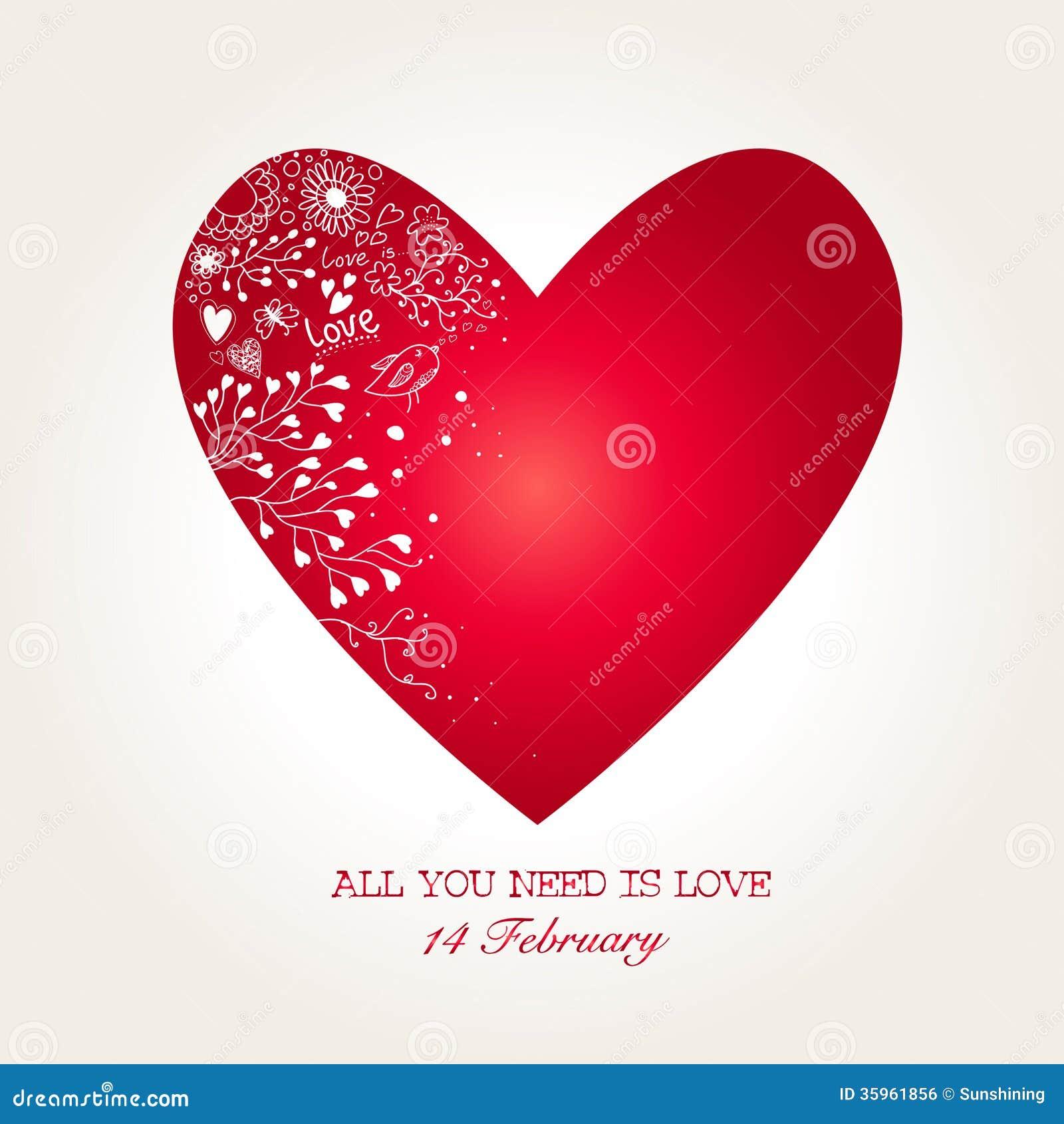 Corazón hermoso para el día de tarjetas del día de San Valentín