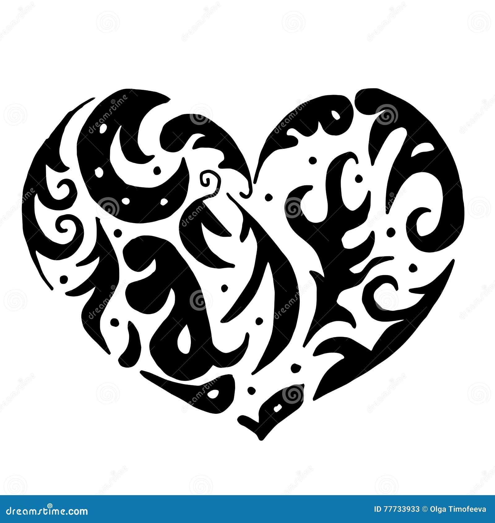 Corazón Para Colorear O El Tatuaje Ilustración Del Vector