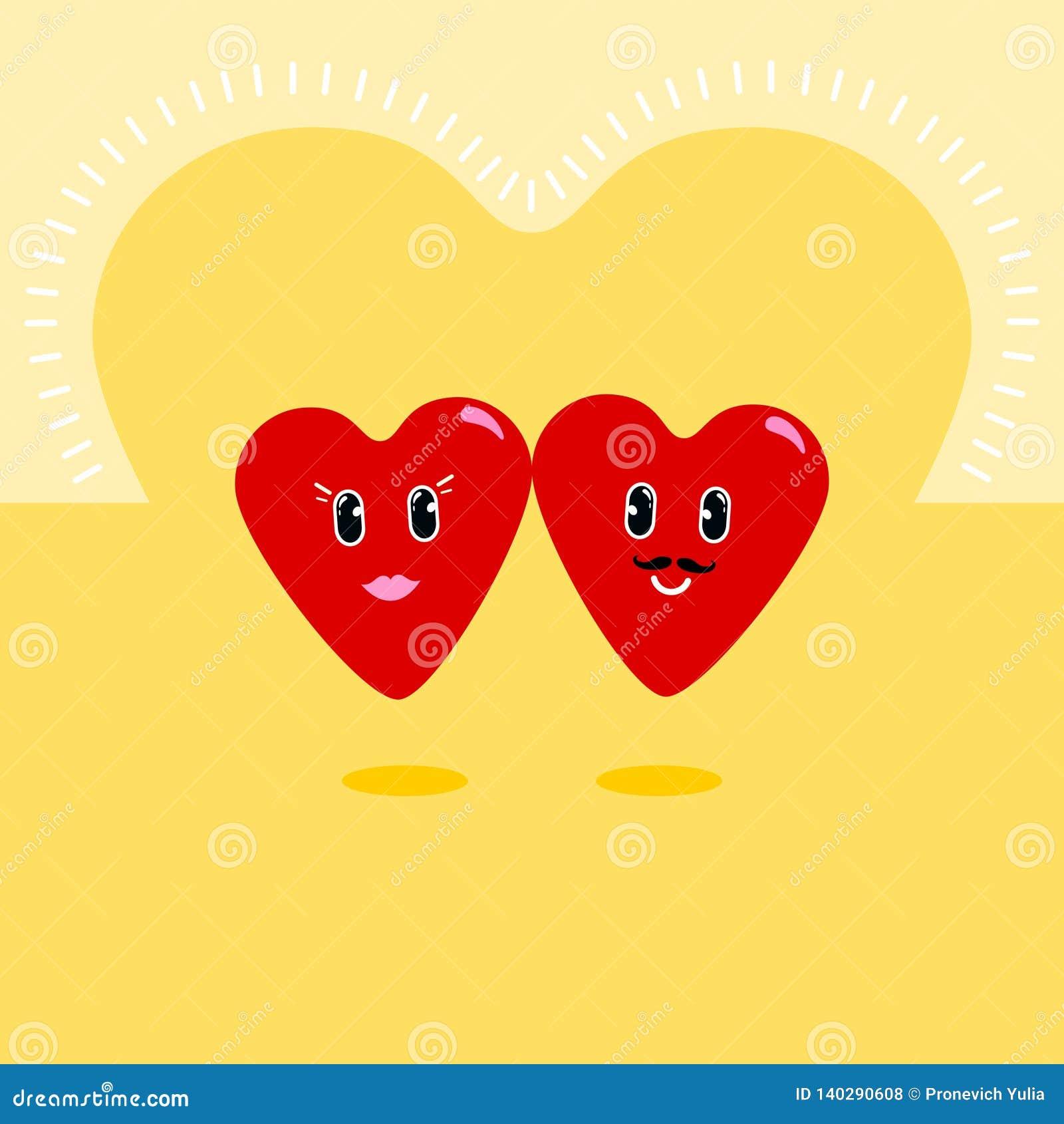Corazón Personajes de dibujos animados con diversas emociones Iconos emocionales emoticon Un sistema de emociones Vector