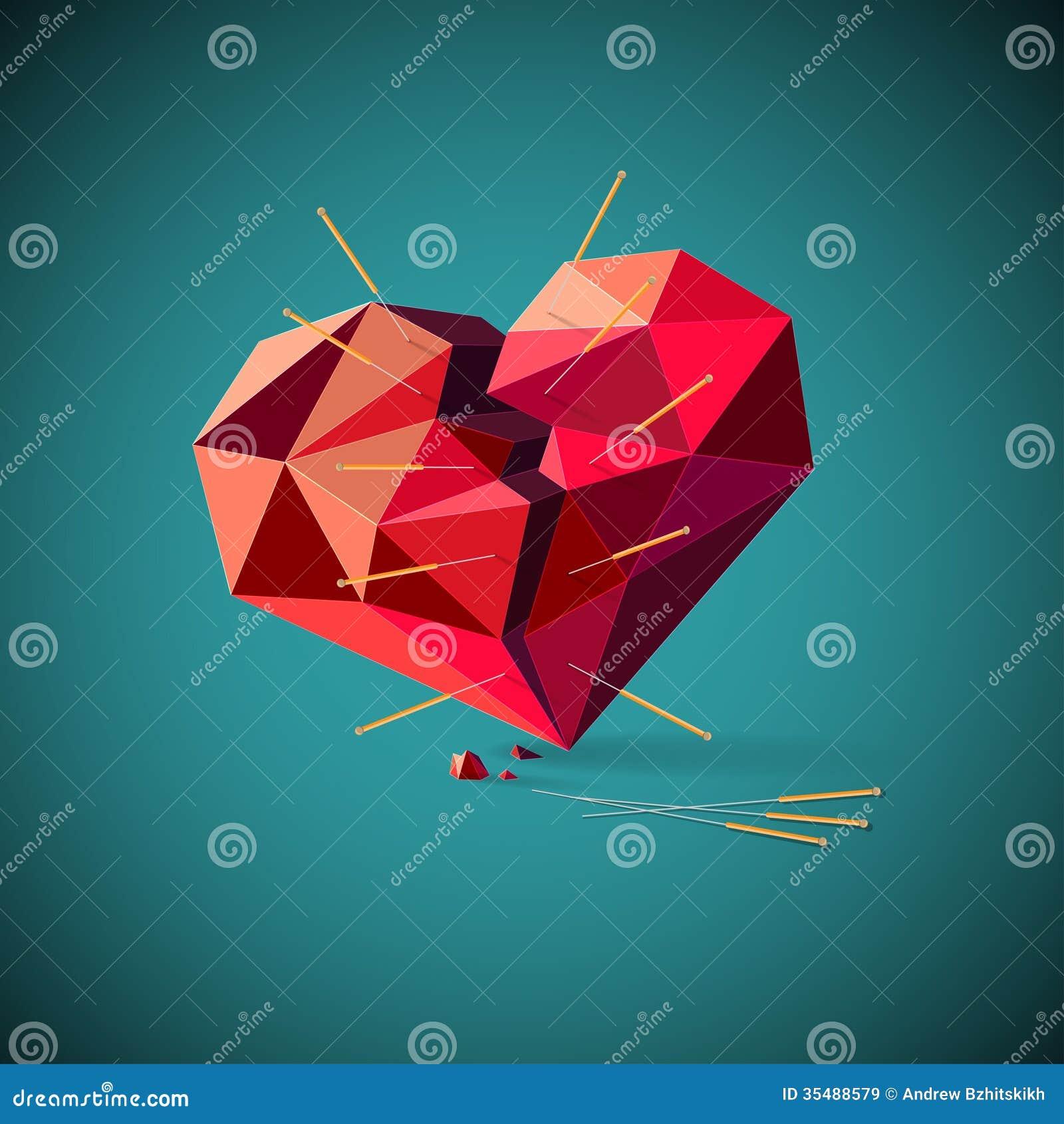 Corazón quebrado con las agujas de la acupuntura