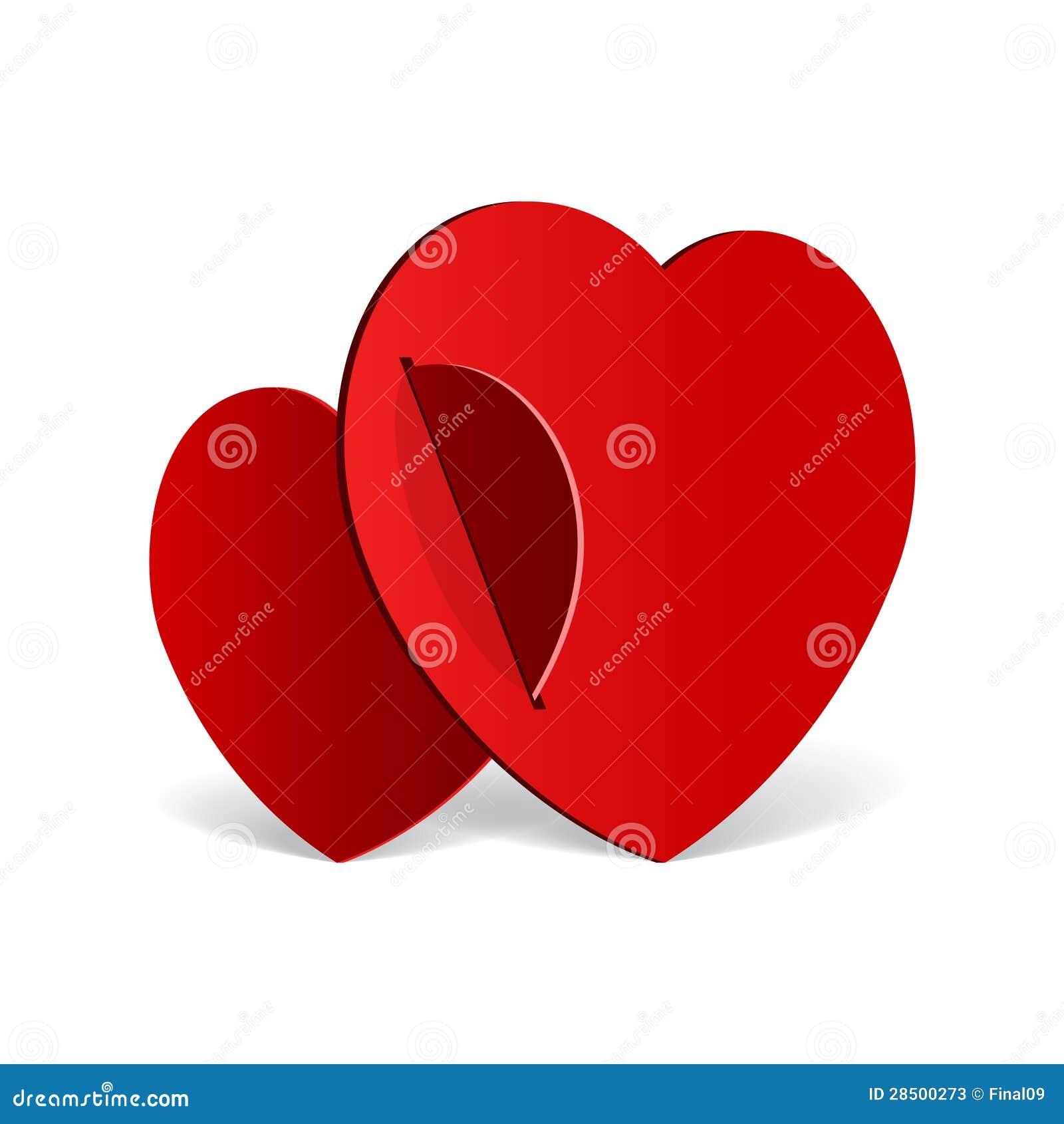 Corazón realista de dos rojos cortado del papel