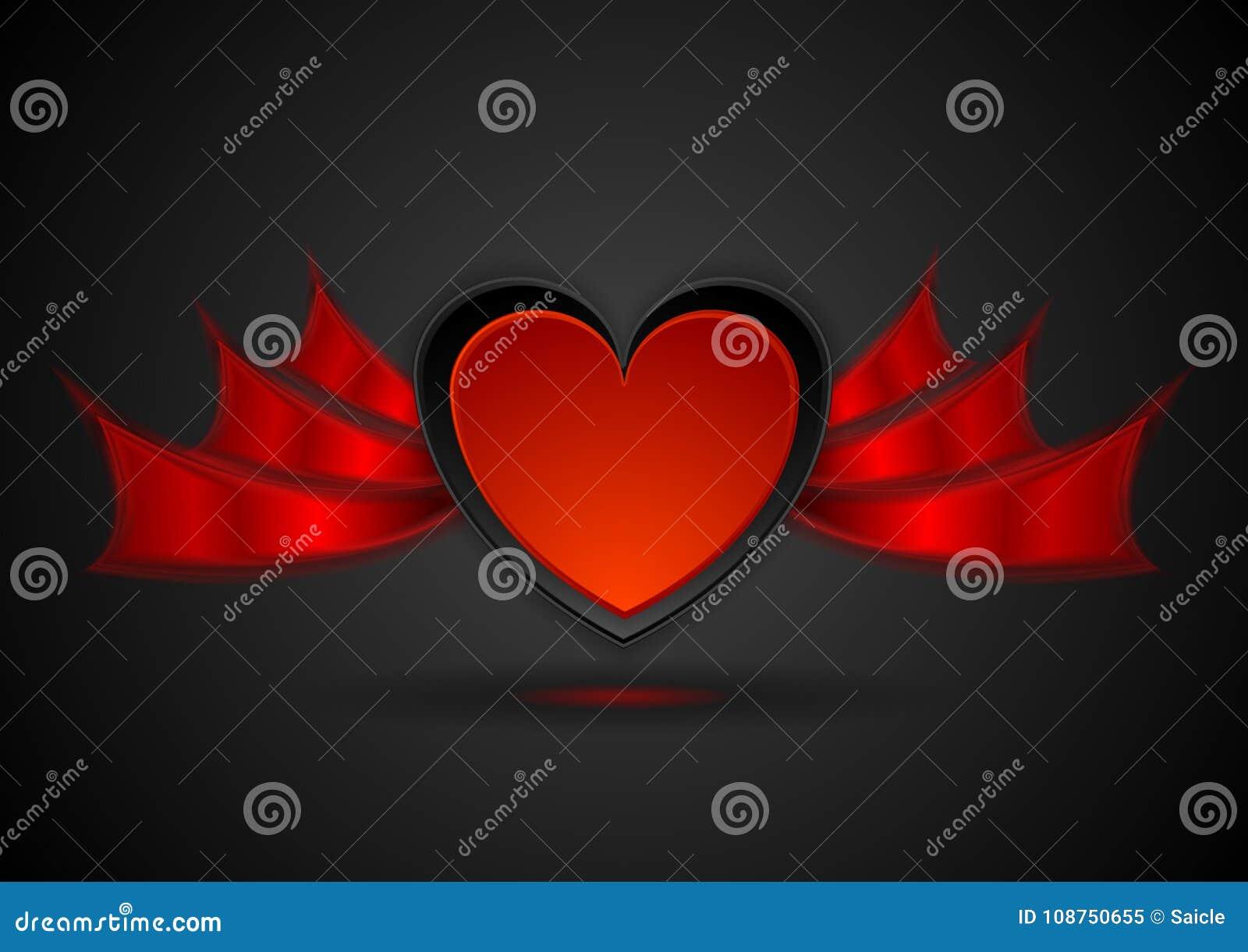 Corazón Rojo Con El Fondo Abstracto Del Amor De Las Alas Ilustración