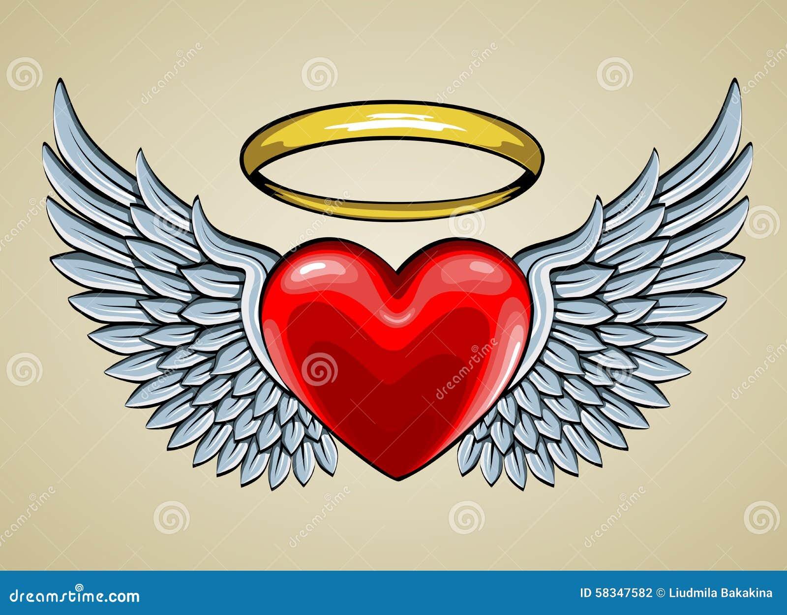 Corazón rojo con las alas y halo del ángel