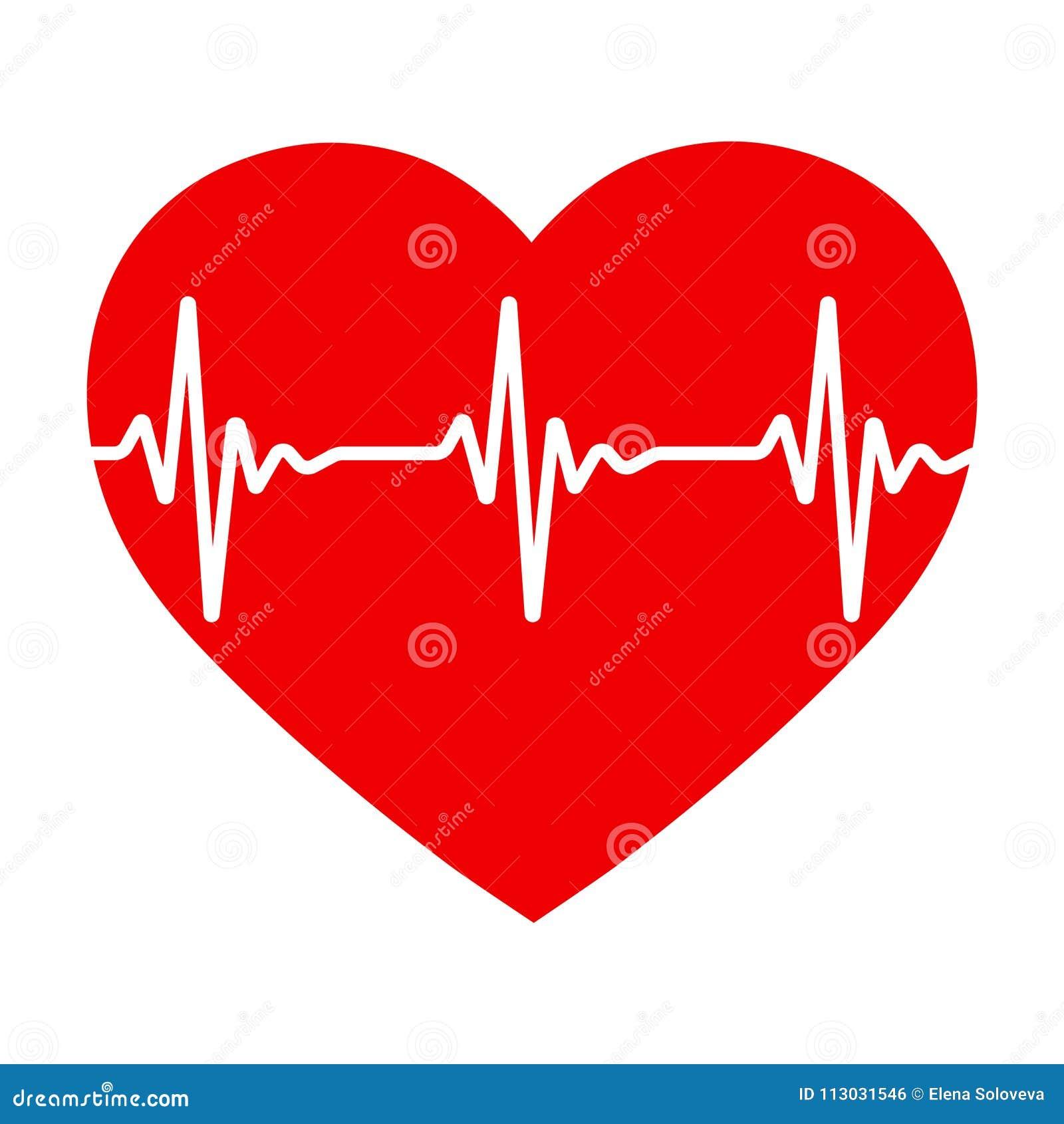 Corazón rojo con pulso El ritmo cardíaco
