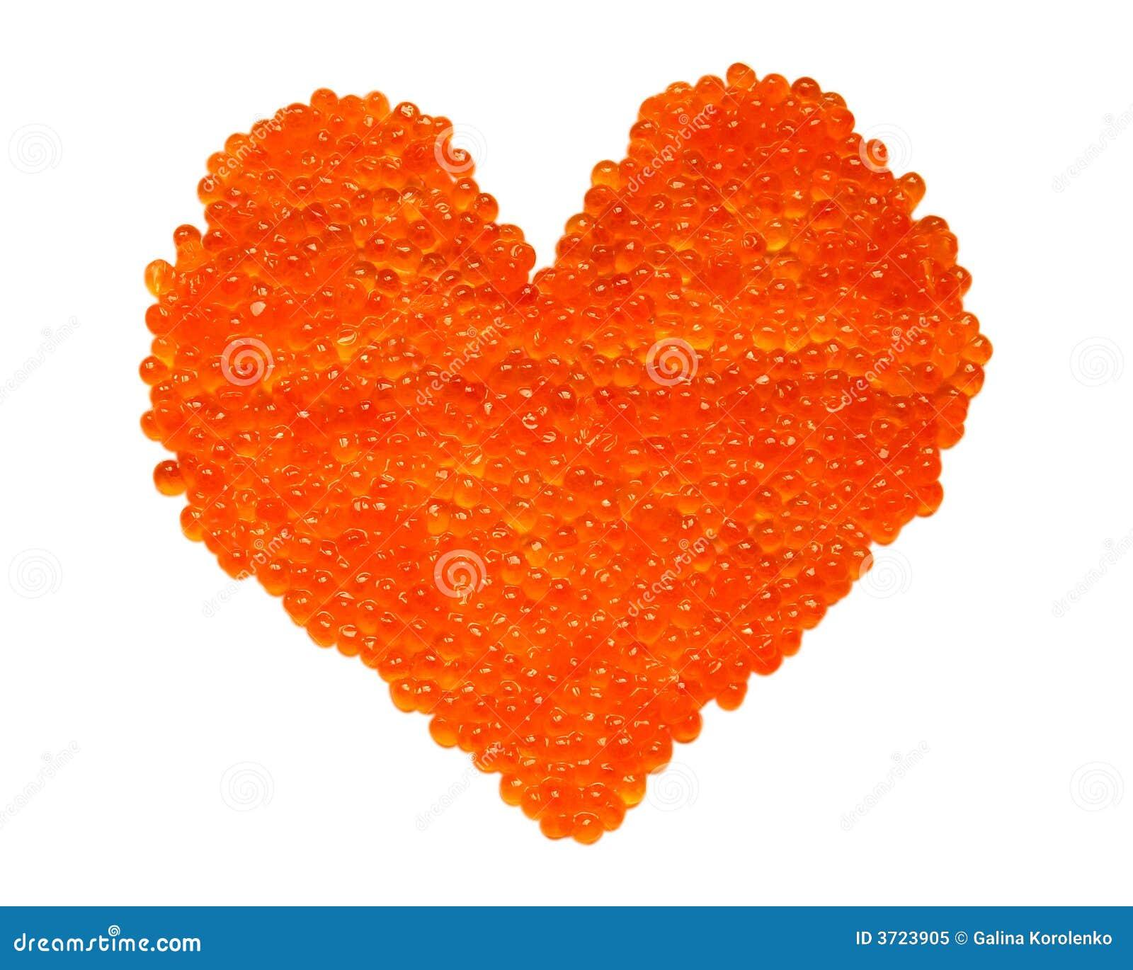 Corazón rojo del caviar