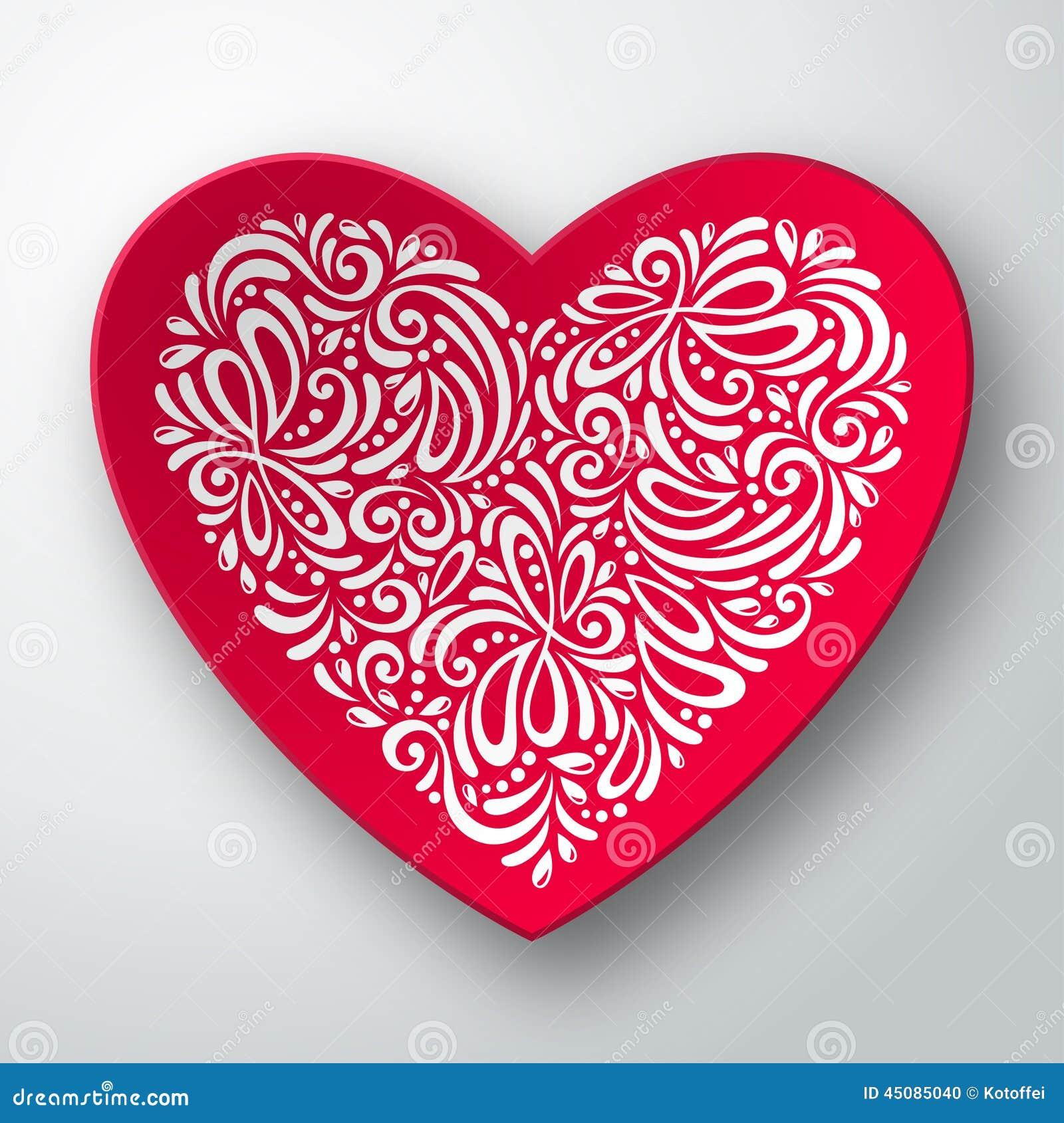 Corazón tridimensional con el modelo blanco
