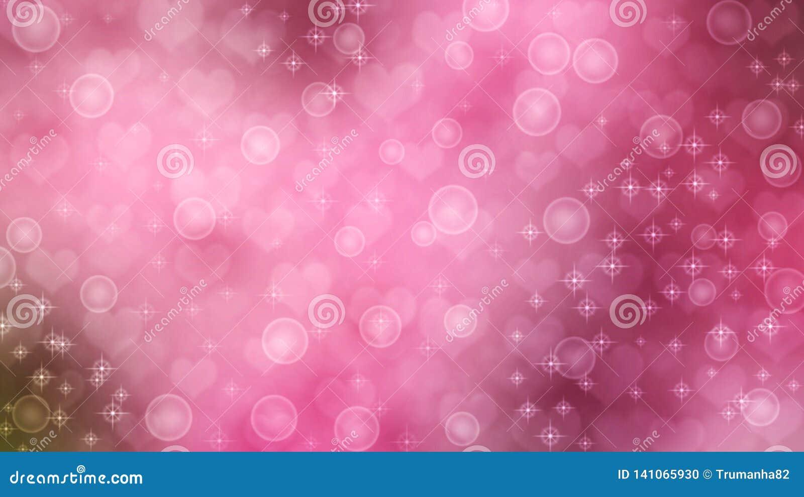 Corazones, chispas y burbujas abstractos en fondo rosado