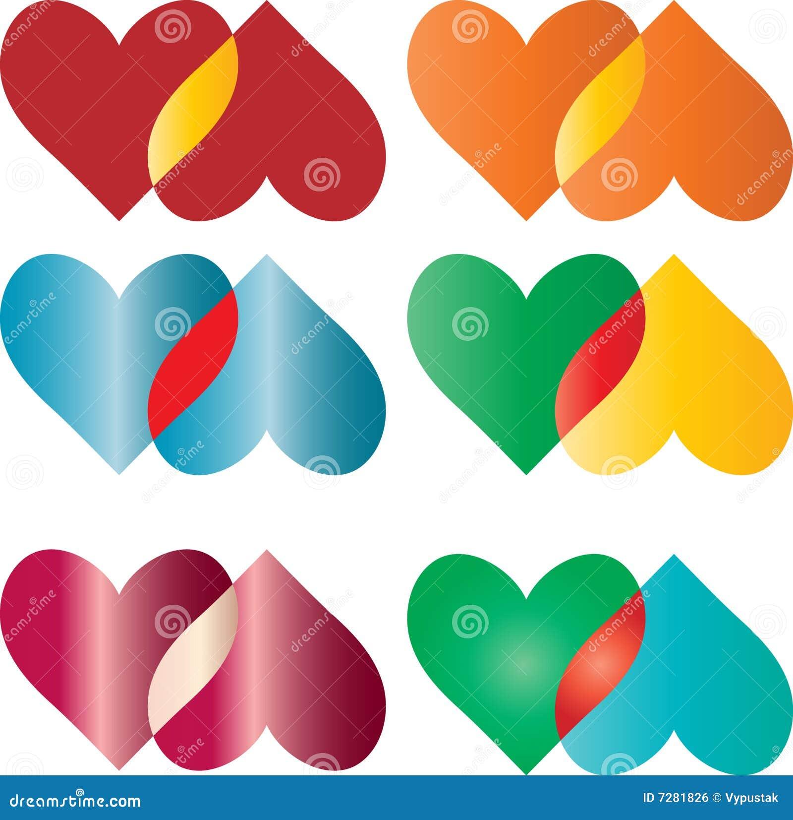 Corazones coloridos fijados
