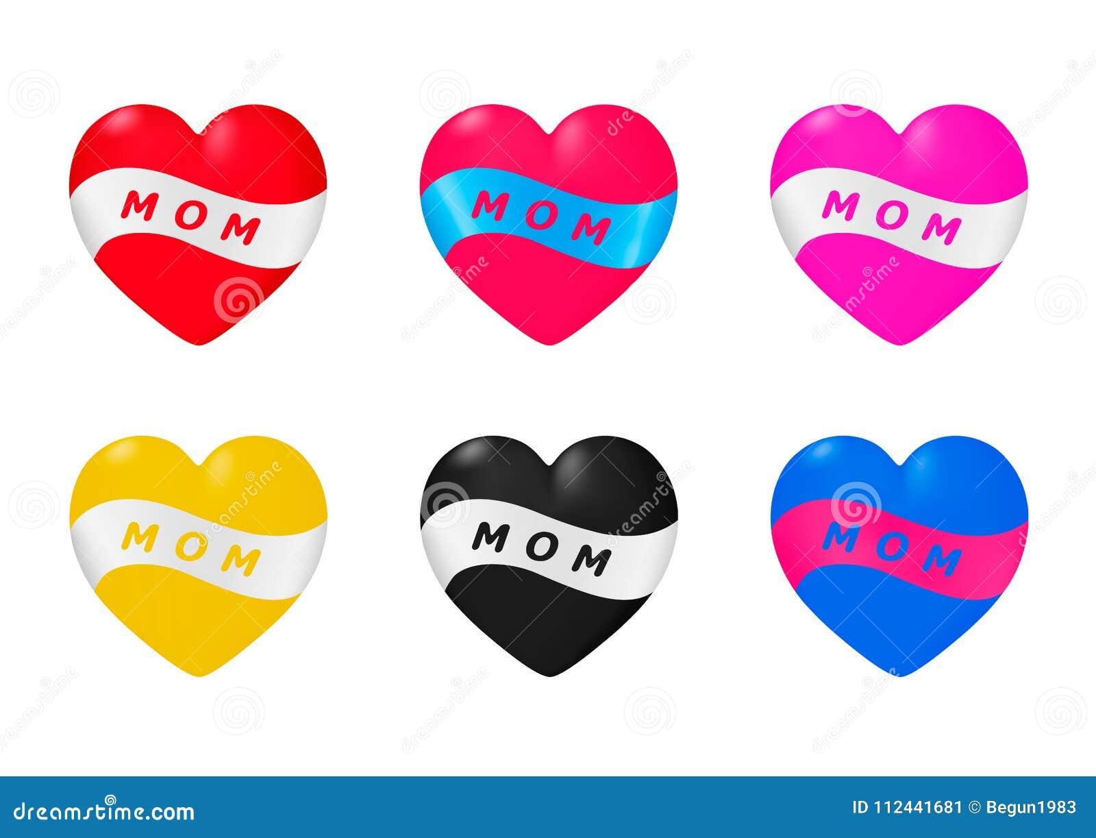 Corazones Con La Mamá De La Palabra Para El Día Del S De La Madre