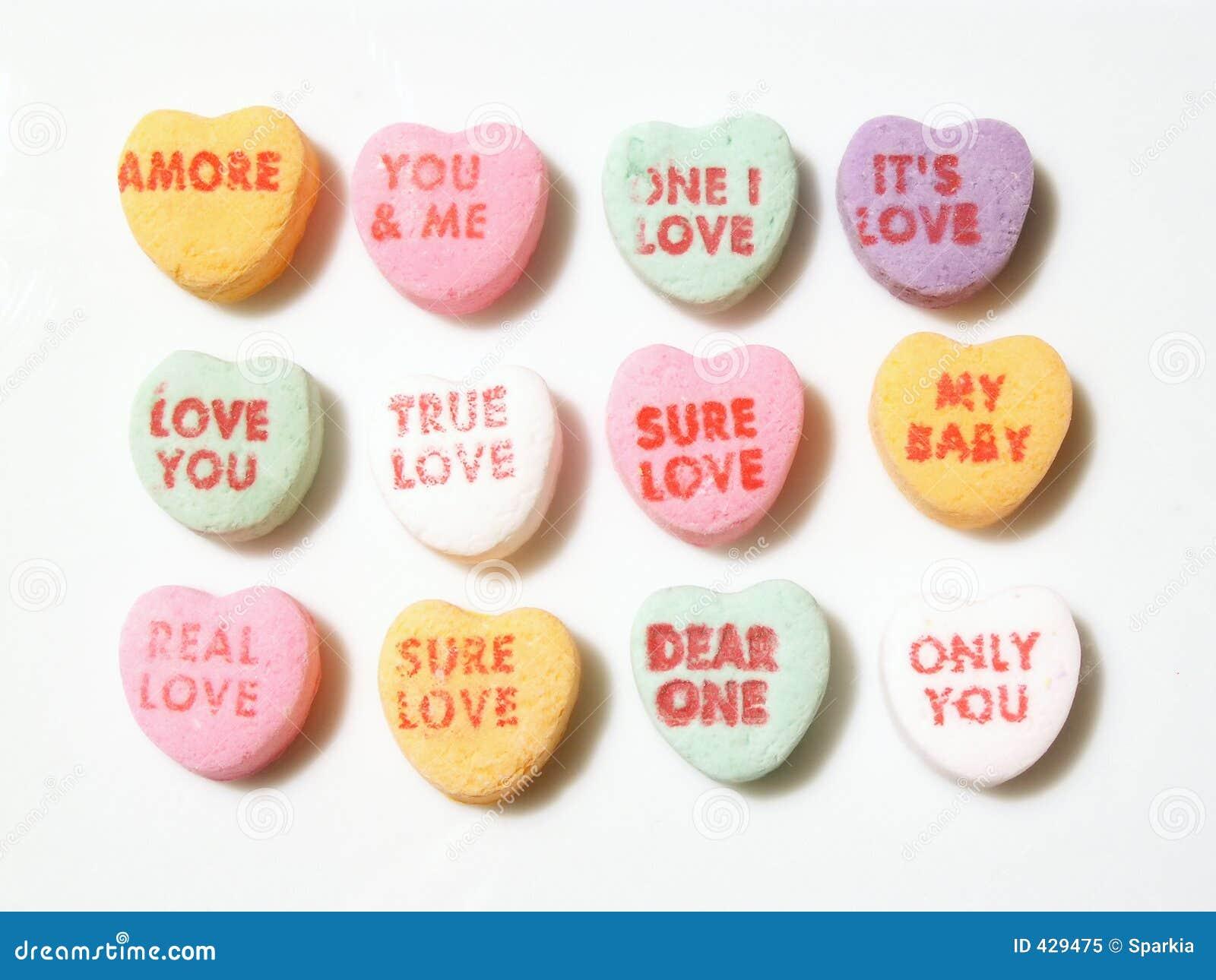 Corazones de la conversación del caramelo