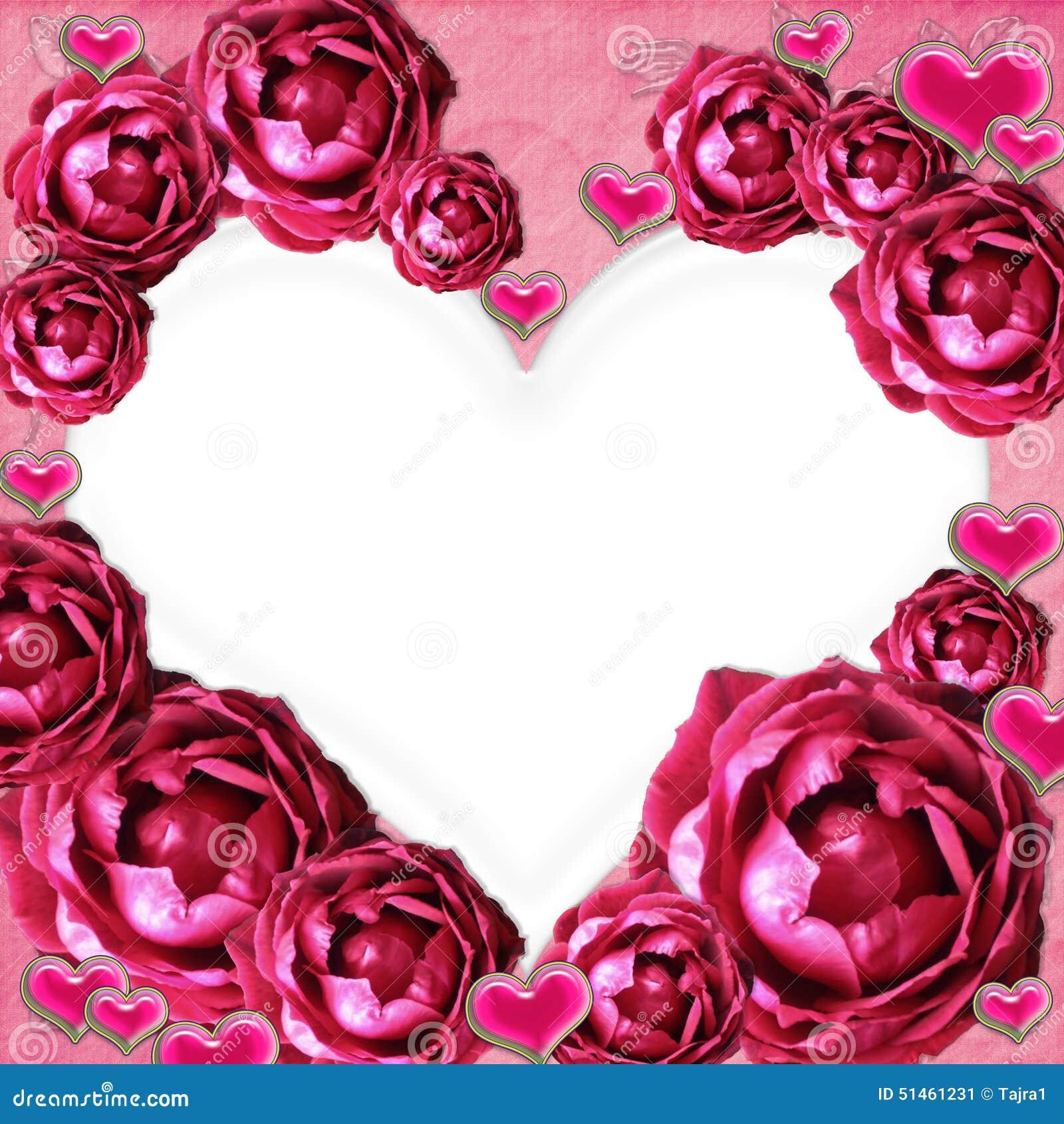 corazones de los ingenios del marco de la foto de las rosas